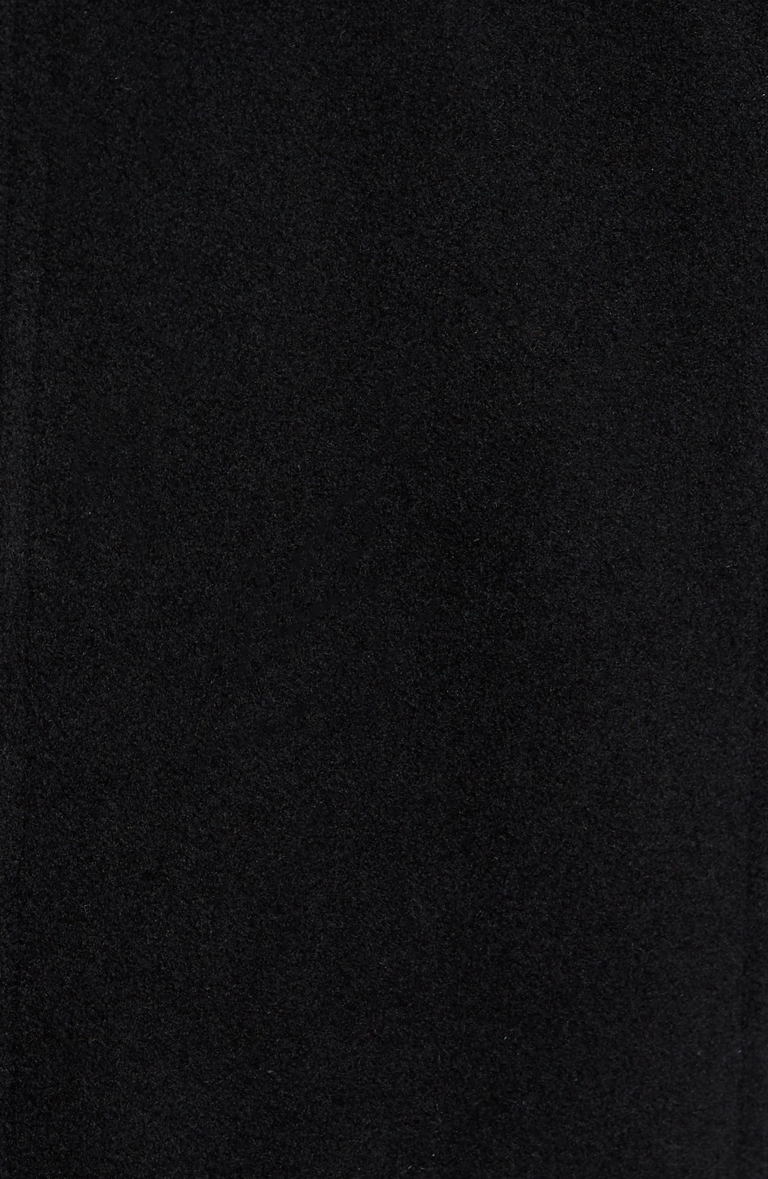 Faux Fur Collar Wool Blend Parka,                             Alternate thumbnail 5, color,                             Black