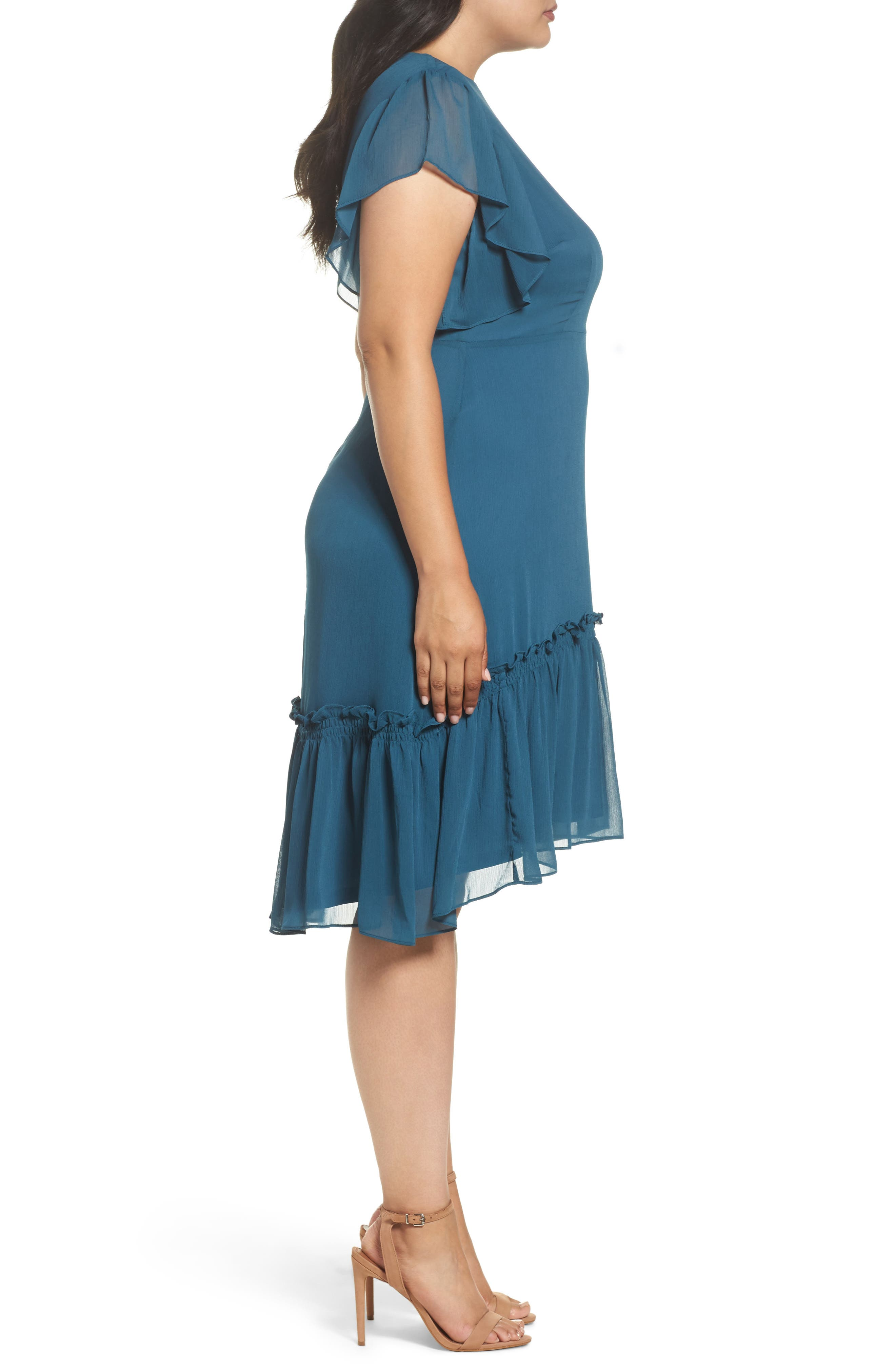 Ruffled High/Low A-Line Dress,                             Alternate thumbnail 4, color,                             Green