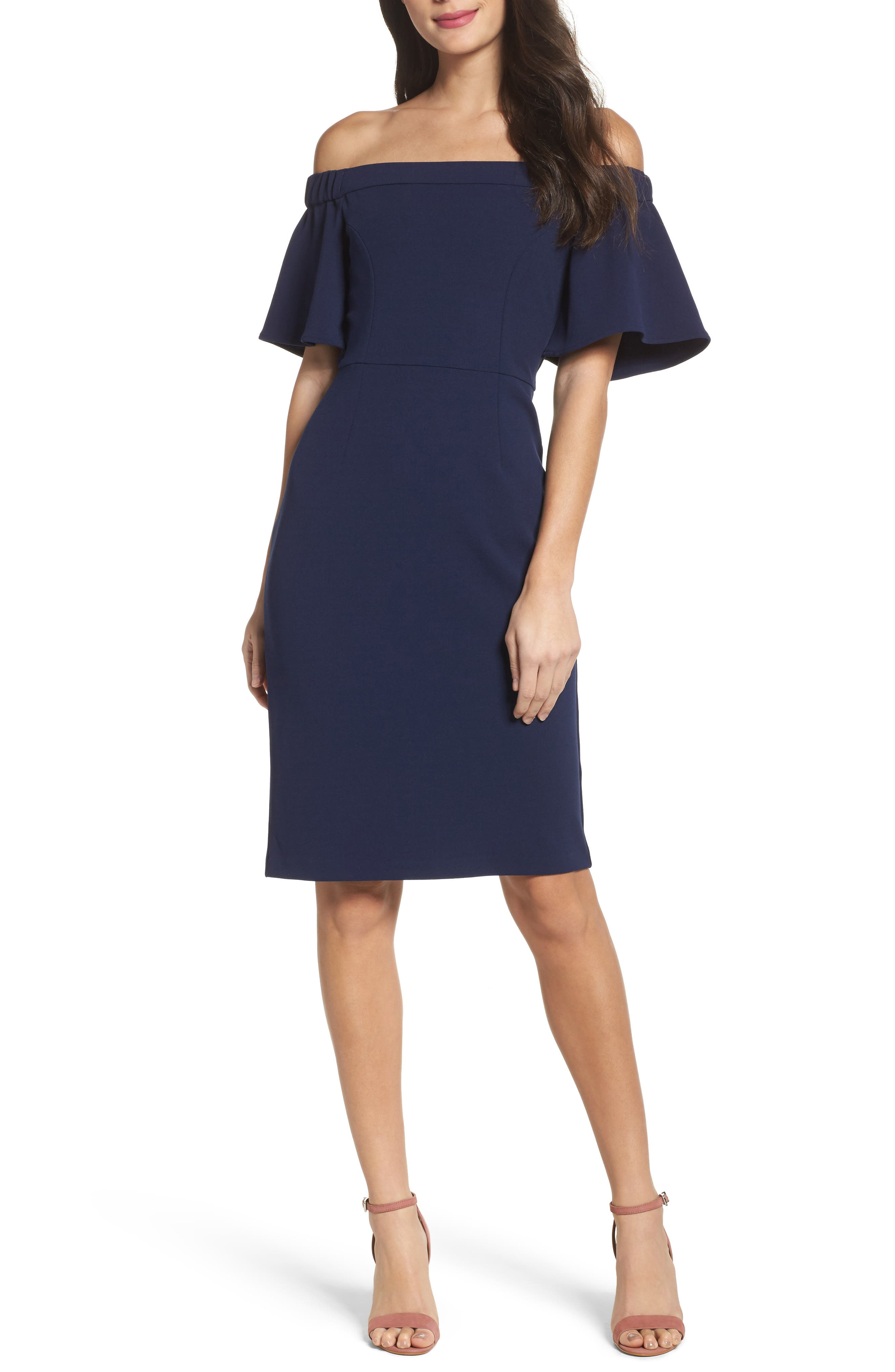 Charles Henry Off the Shoulder Sheath Dress
