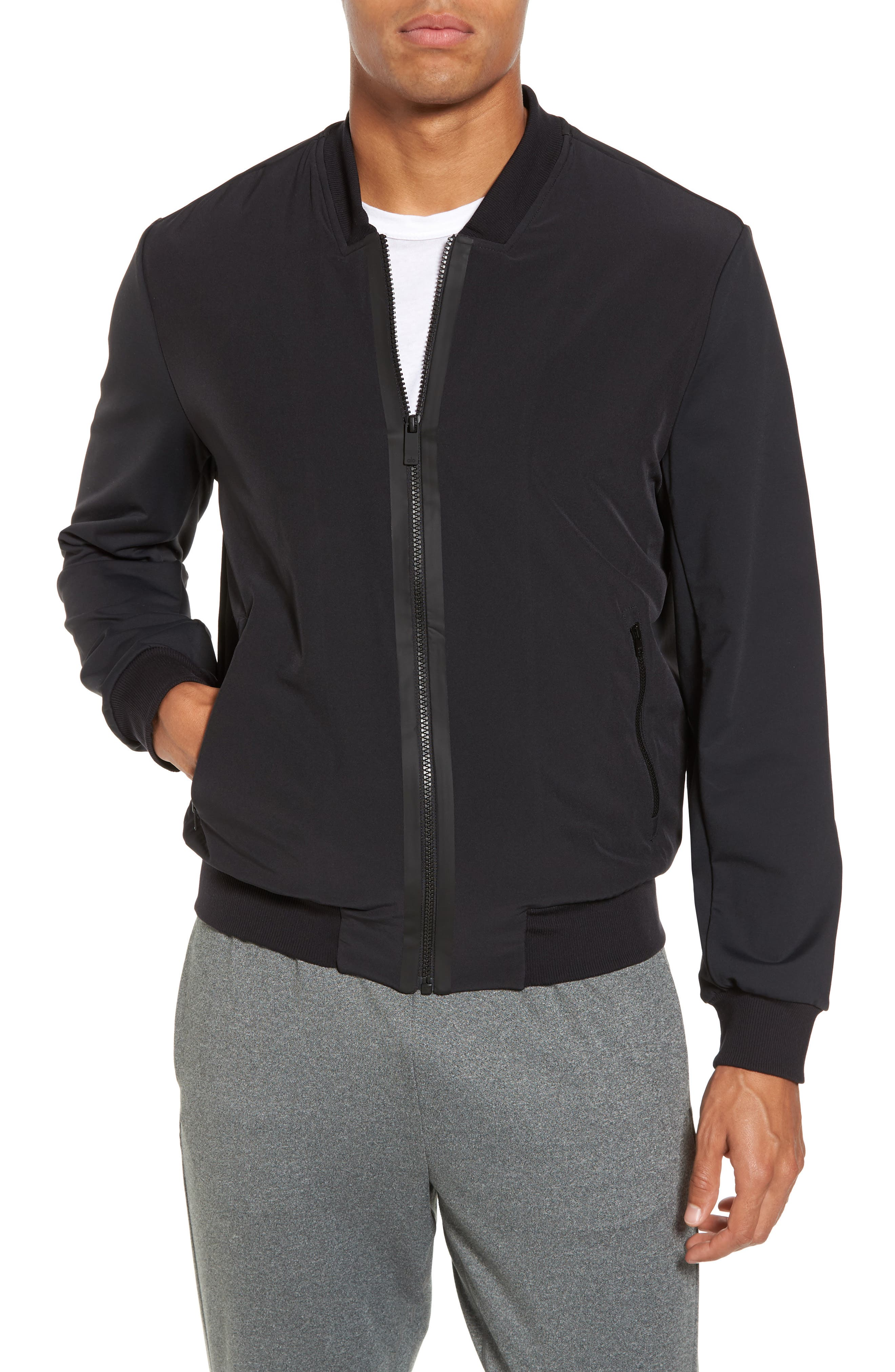 Inversion Relaxed Bomber Jacket,                         Main,                         color, Black
