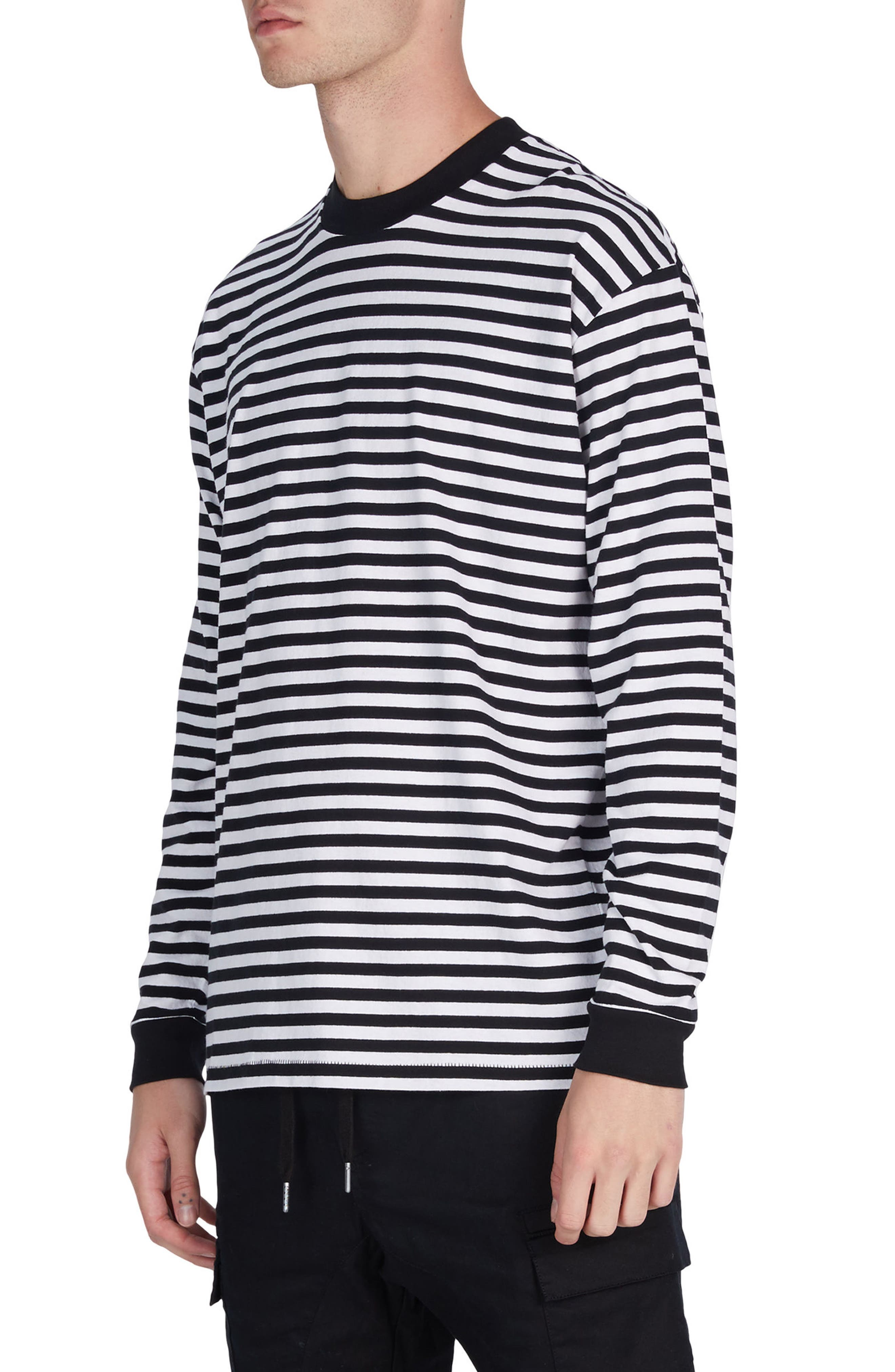 Stripe Box T-Shirt,                             Alternate thumbnail 4, color,                             Black/ White