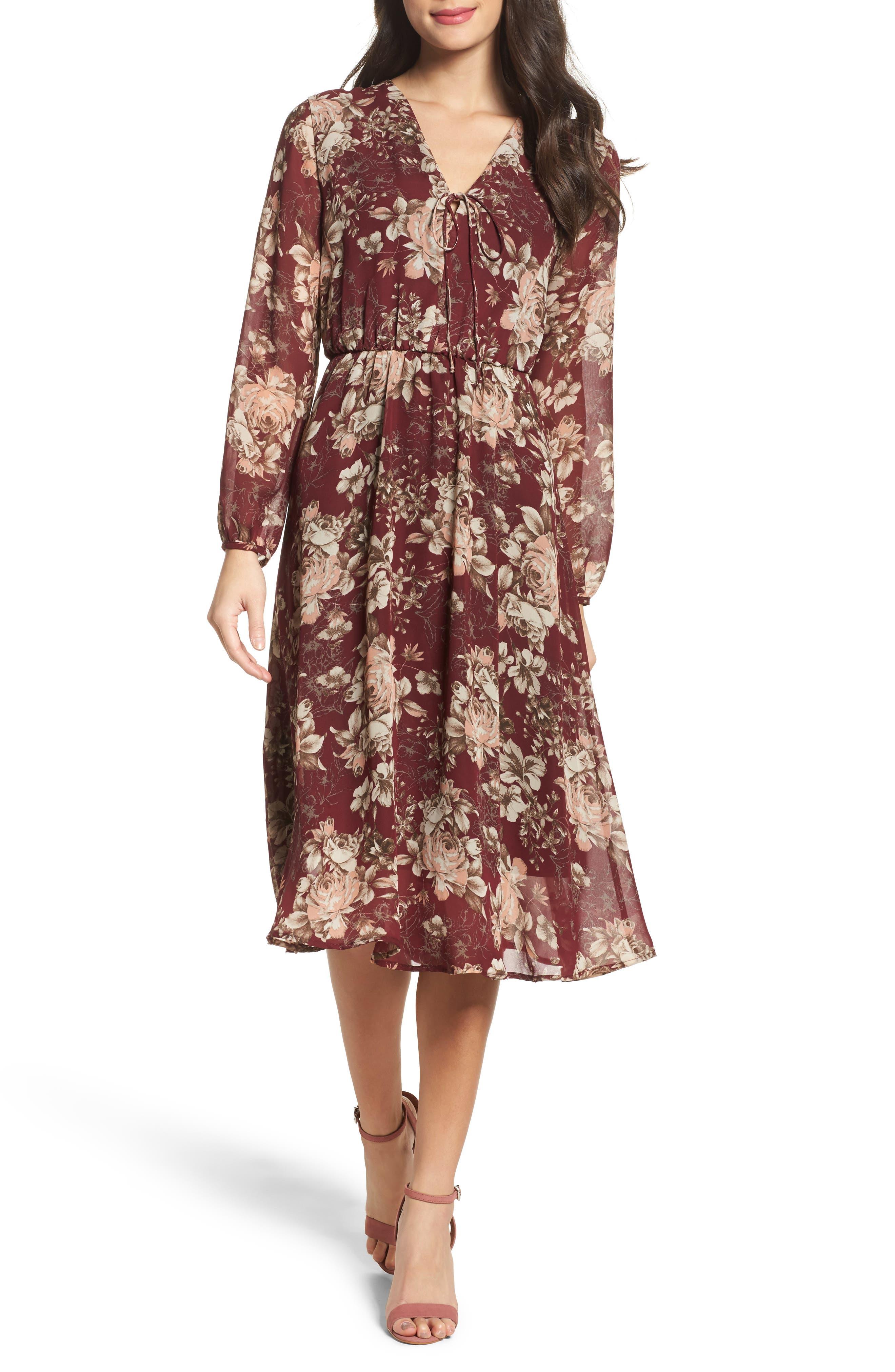 Blouson Midi Dress,                         Main,                         color, Rosa Wine