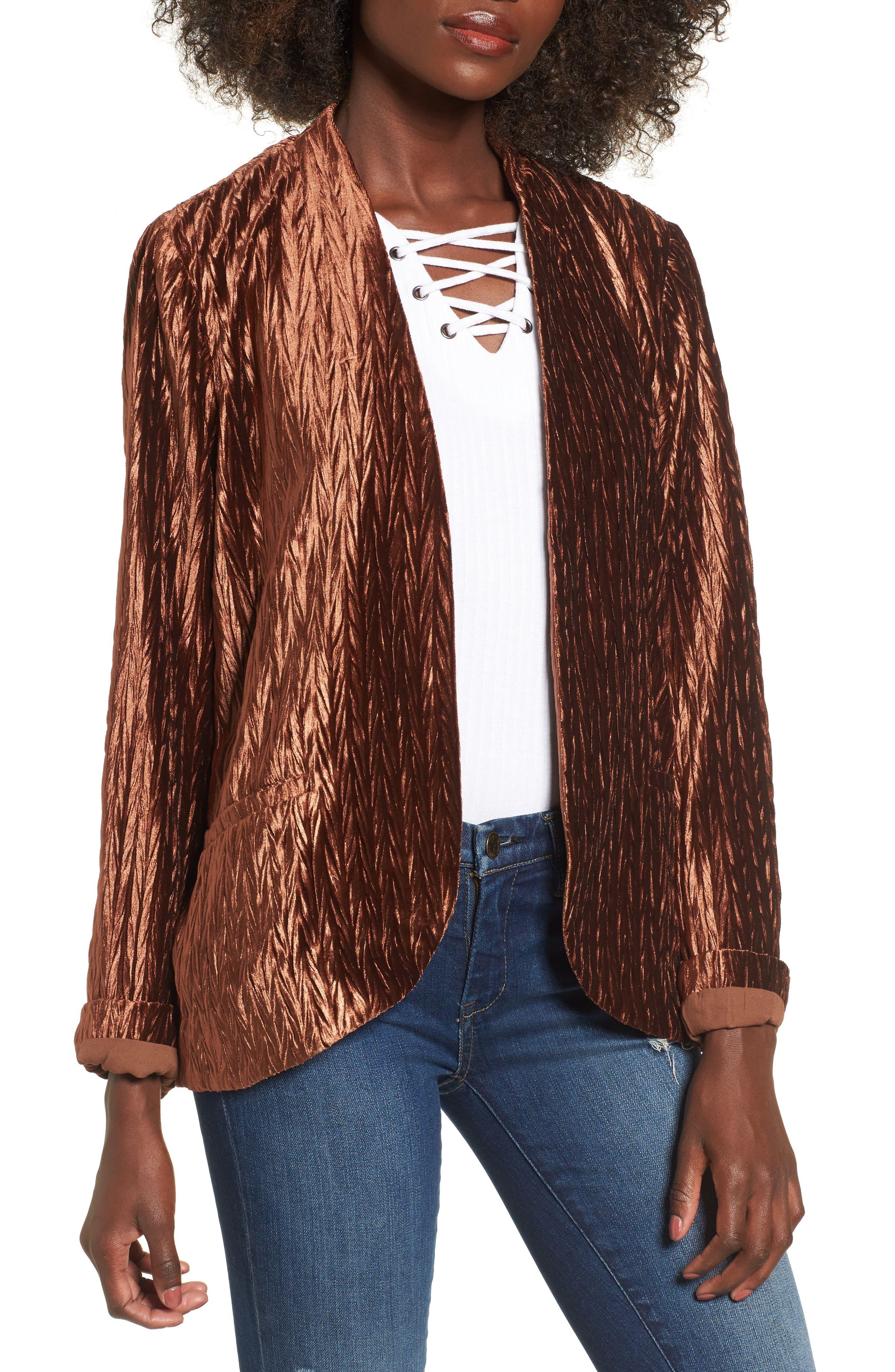 Velvet Blazer,                         Main,                         color, Amber