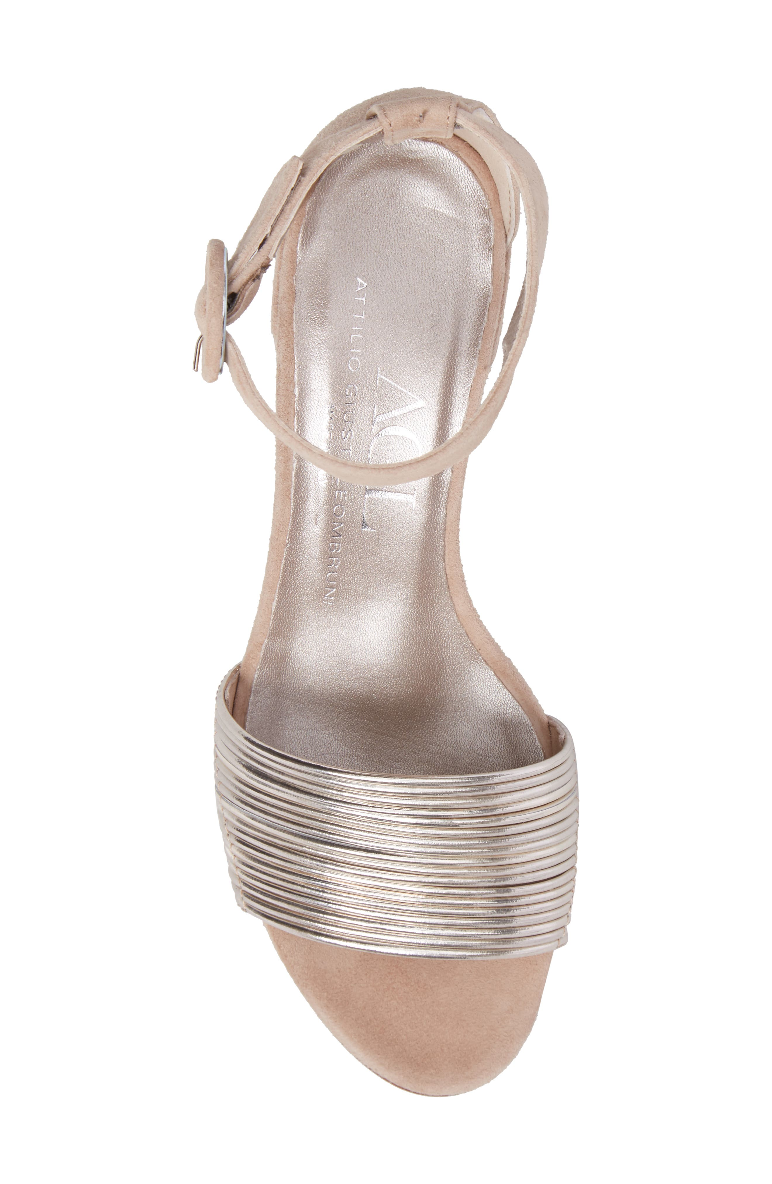 Ankle Strap Sandal,                             Alternate thumbnail 5, color,                             Platinum Leather