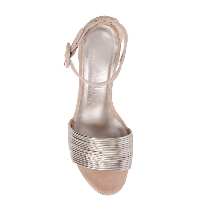 46733a44f1d Shop Agl Attilio Giusti Leombruni Ankle Strap Sandal In Platinum Leather