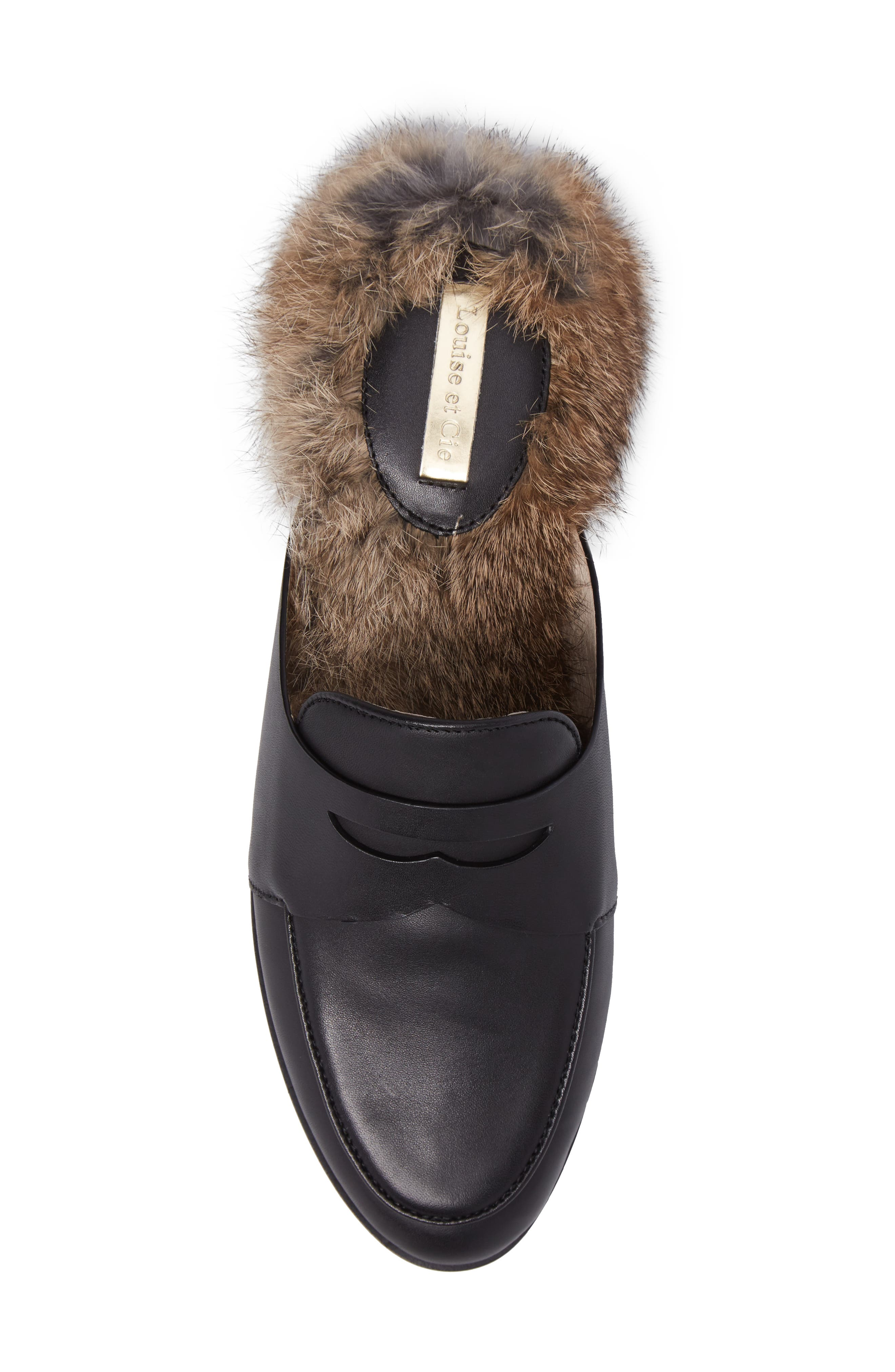 Dugan II Genuine Rabbit Fur Mule,                             Alternate thumbnail 5, color,                             Black Leather