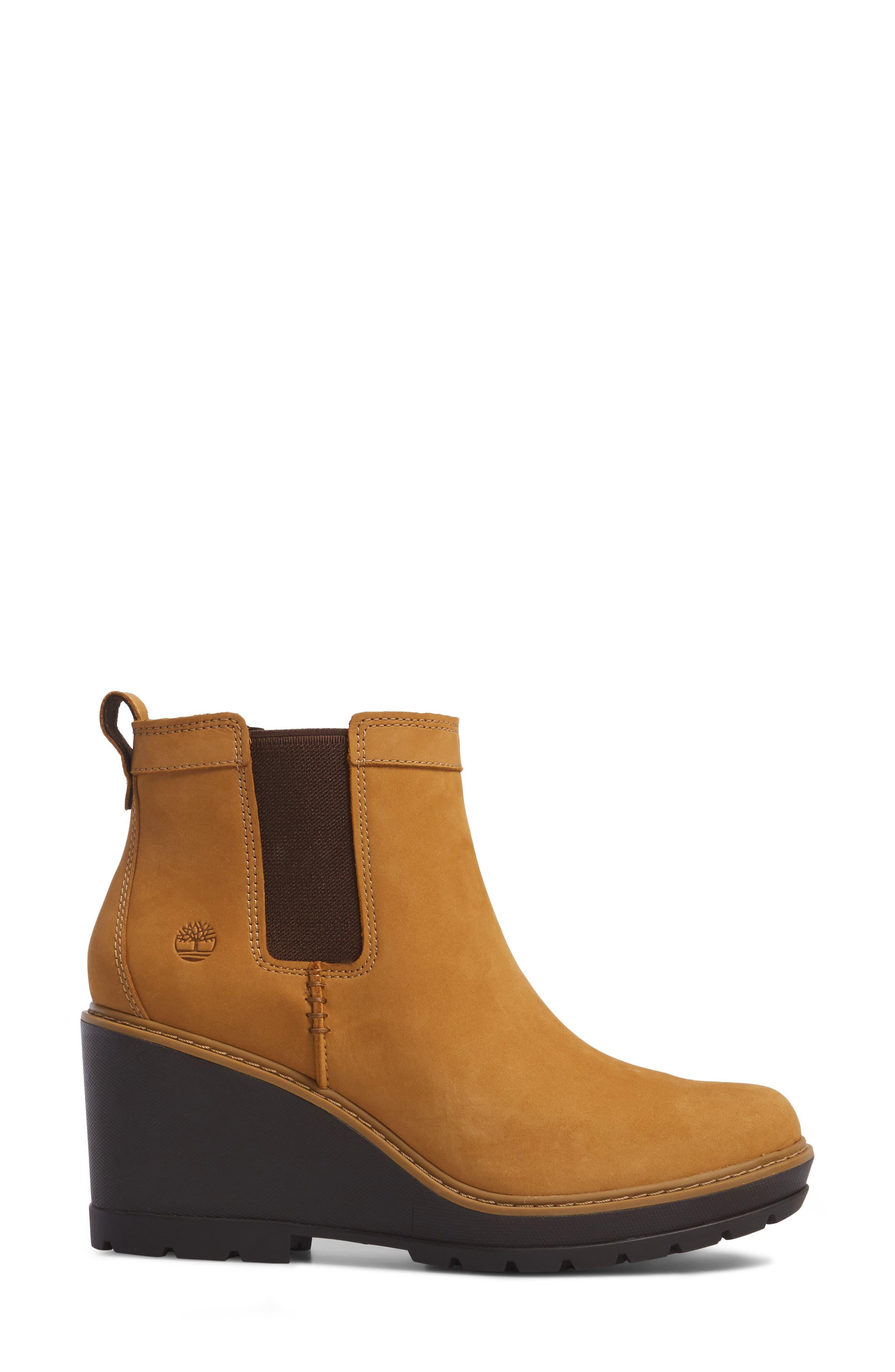 Kellis Water Resistant Chelsea Wedge Boot,                             Alternate thumbnail 3, color,                             Wheat Nubuck