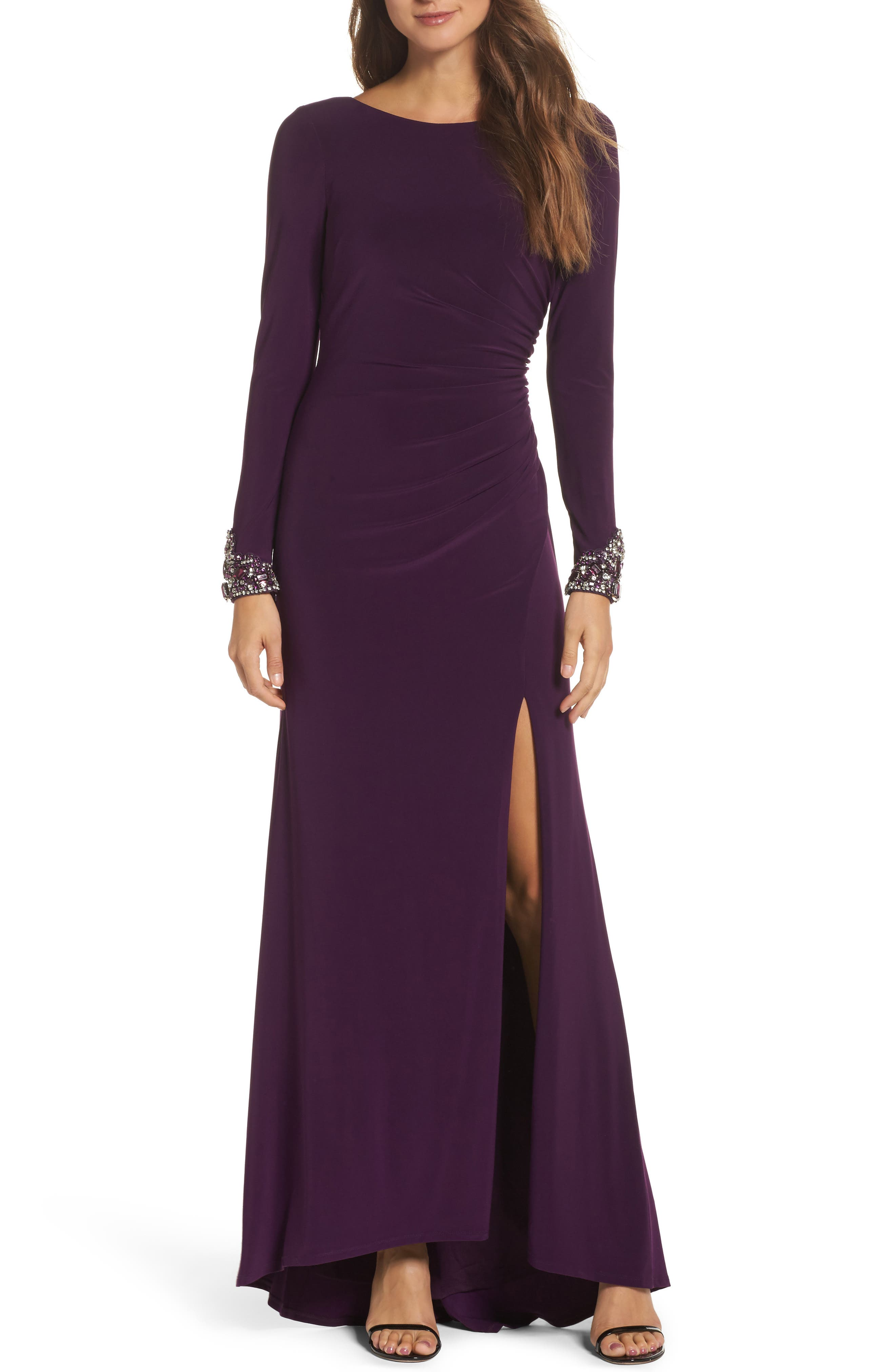 Beaded Sleeve Ruched Jersey Gown,                             Main thumbnail 1, color,                             Plum