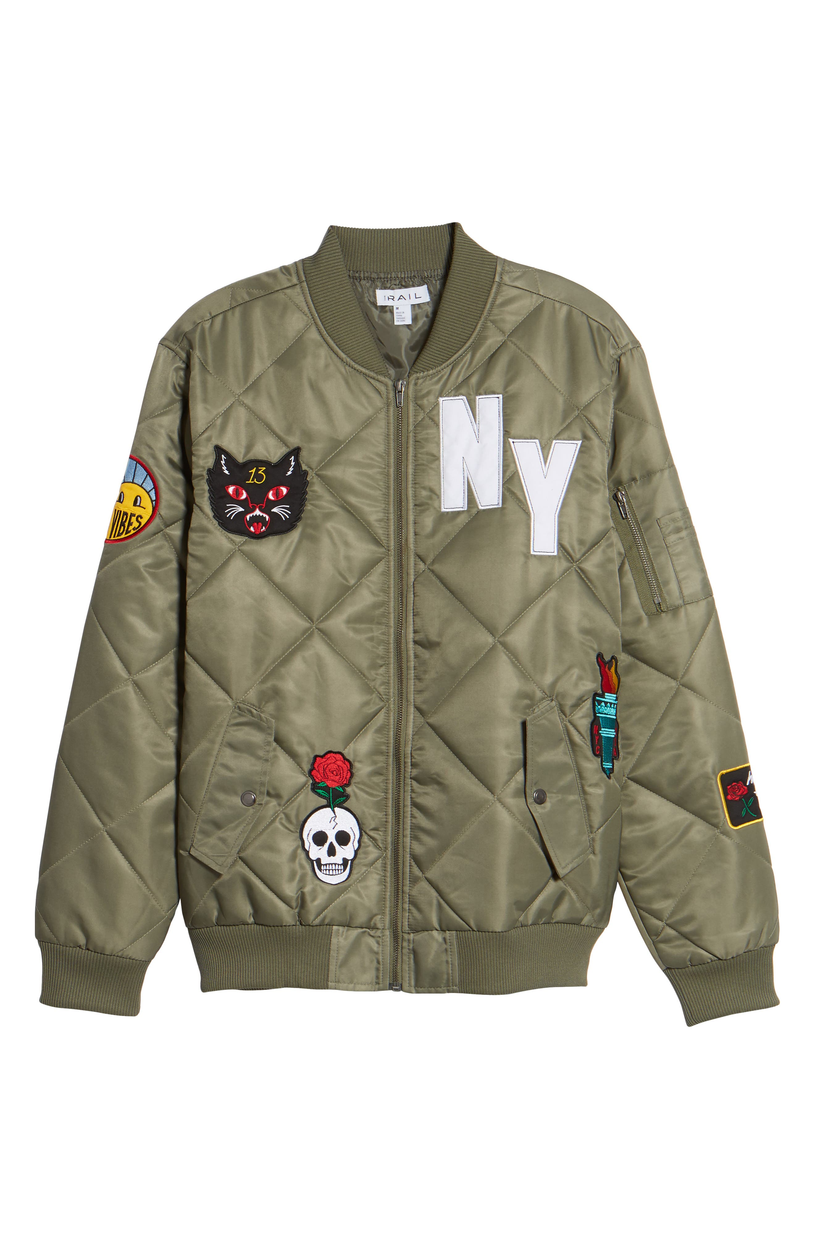 Quilted Bomber Jacket,                             Alternate thumbnail 6, color,                             Olive Marsh