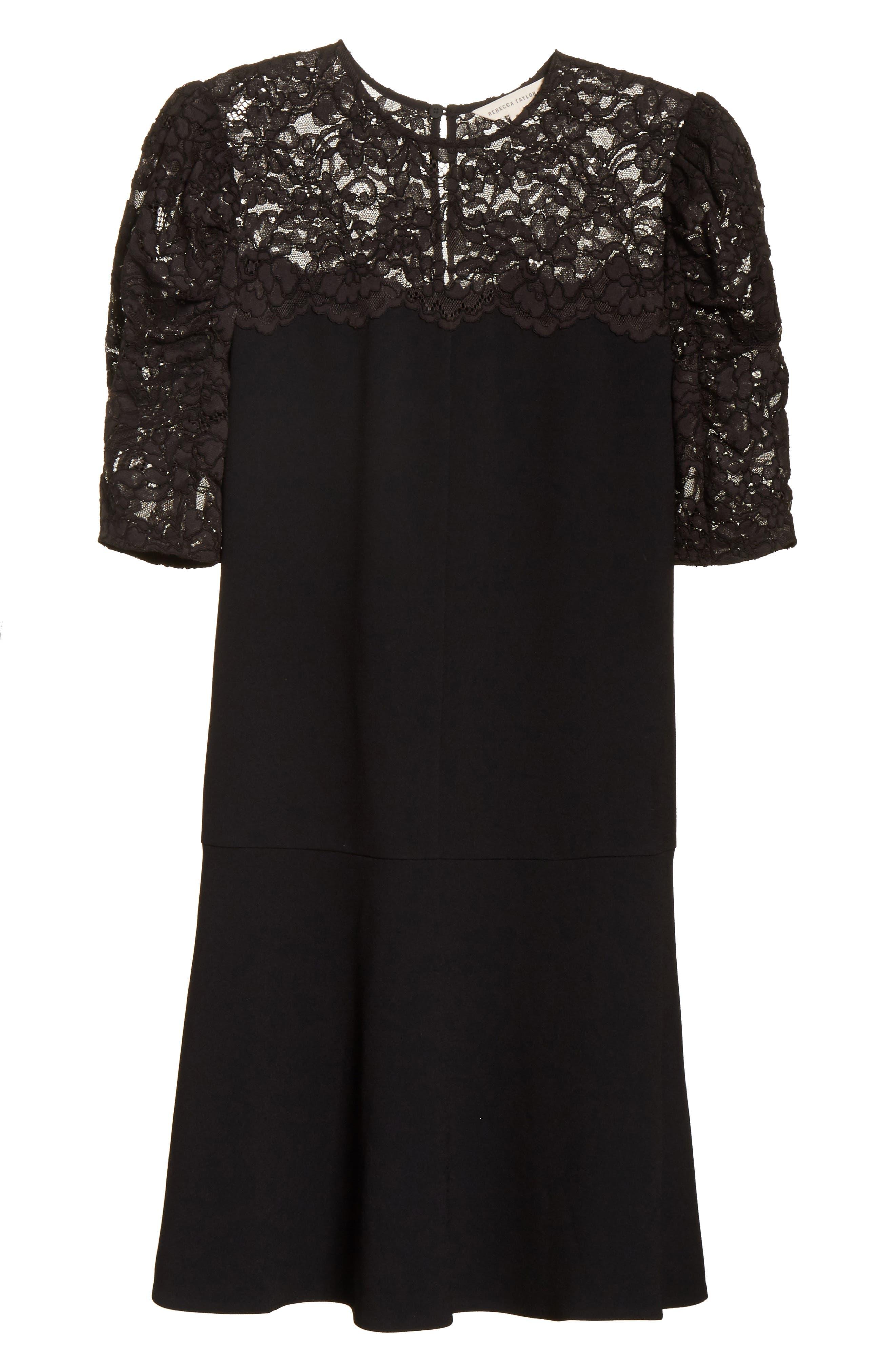 Lace & Crepe A-Line Dress,                             Alternate thumbnail 6, color,                             Black