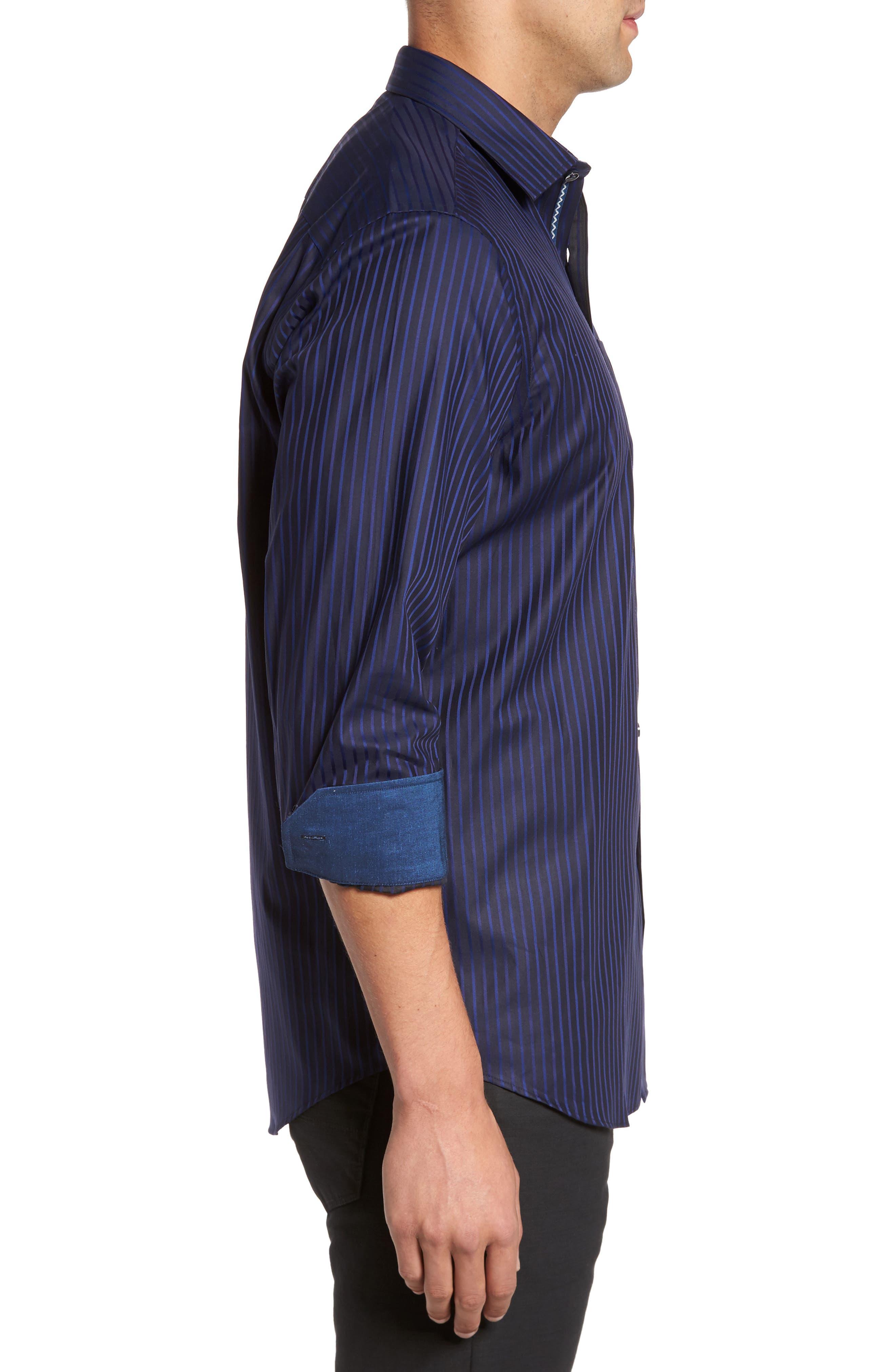 Classic Fit Stripe Sport Shirt,                             Alternate thumbnail 3, color,                             Night Blue