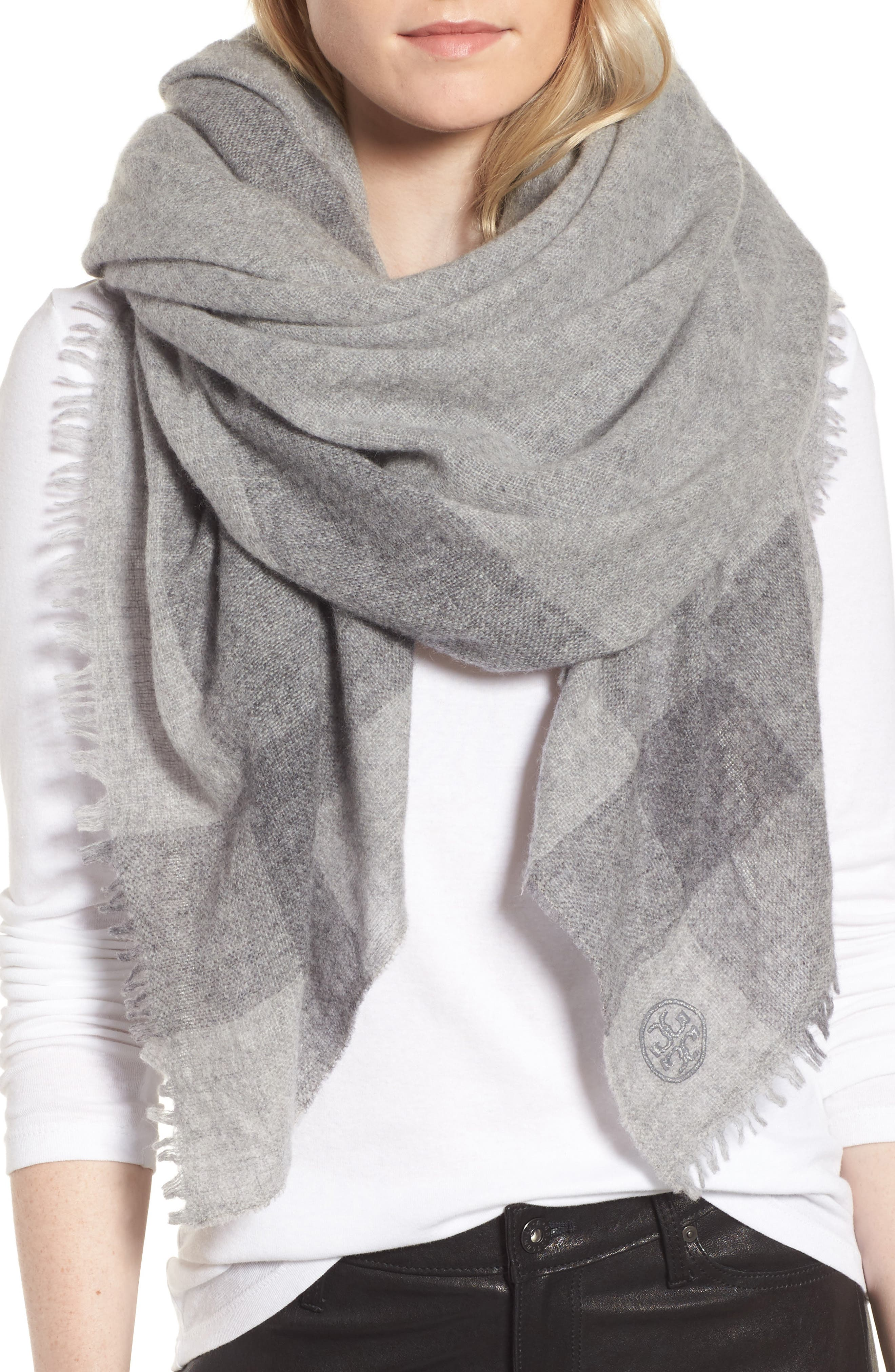 Alternate Image 4  - Tory Burch Check Wool & Cashmere Scarf