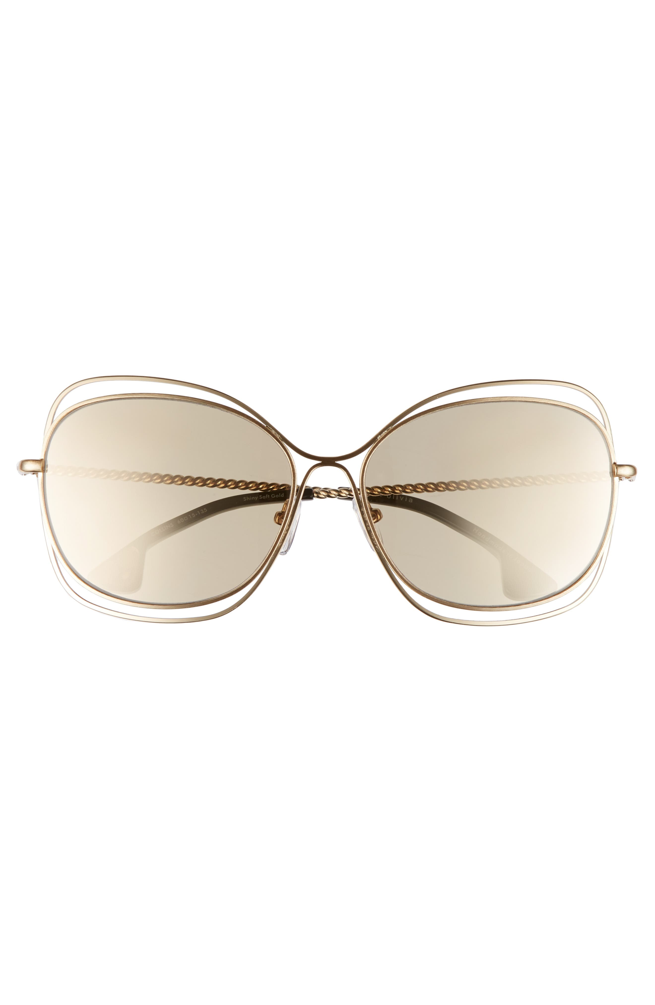 Collins 60mm Butterfly Sunglasses,                             Alternate thumbnail 3, color,                             Soft Gold