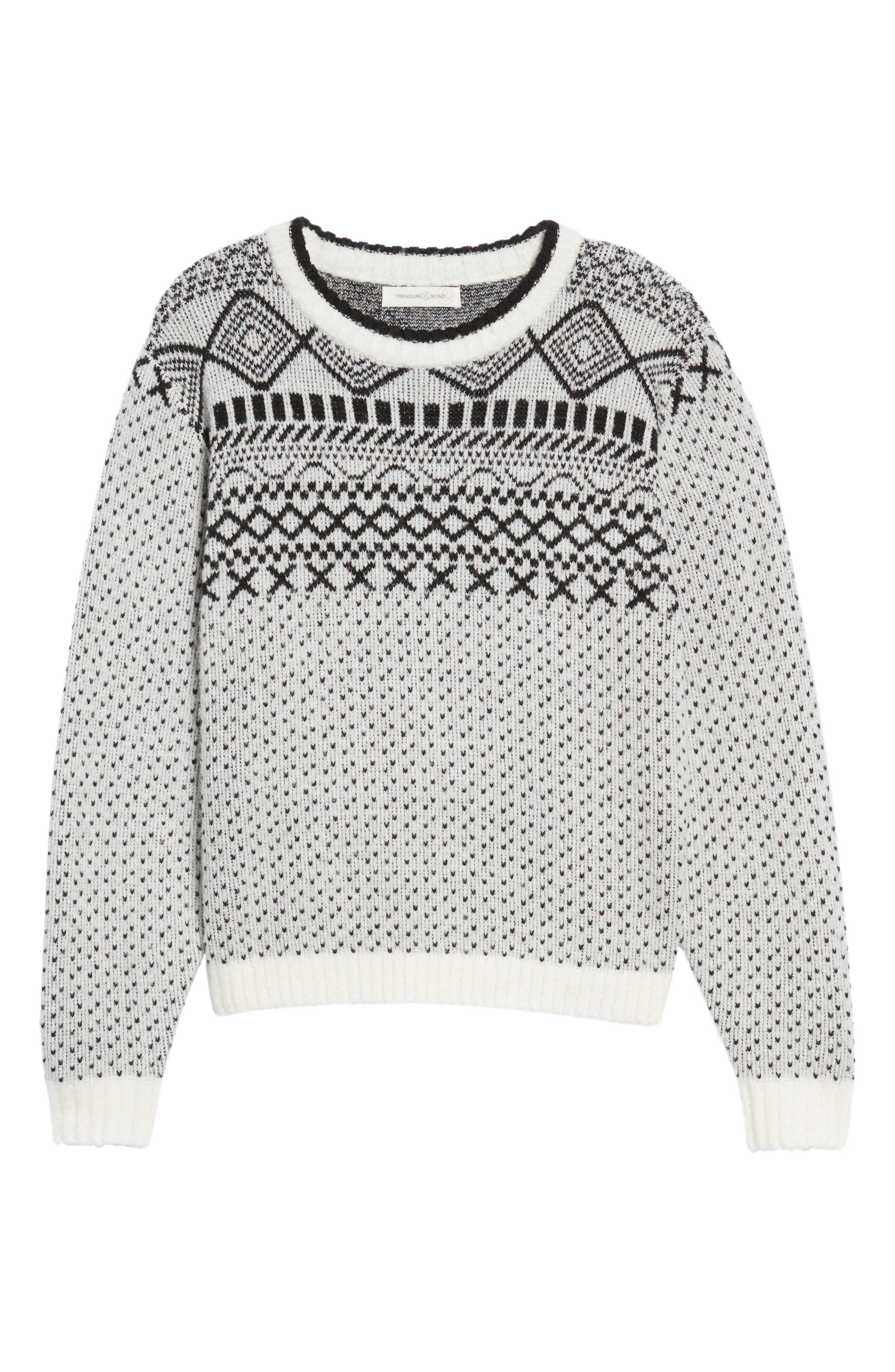 Fair Isle Sweater,                             Alternate thumbnail 7, color,                             Ivory Diamond Fairisle