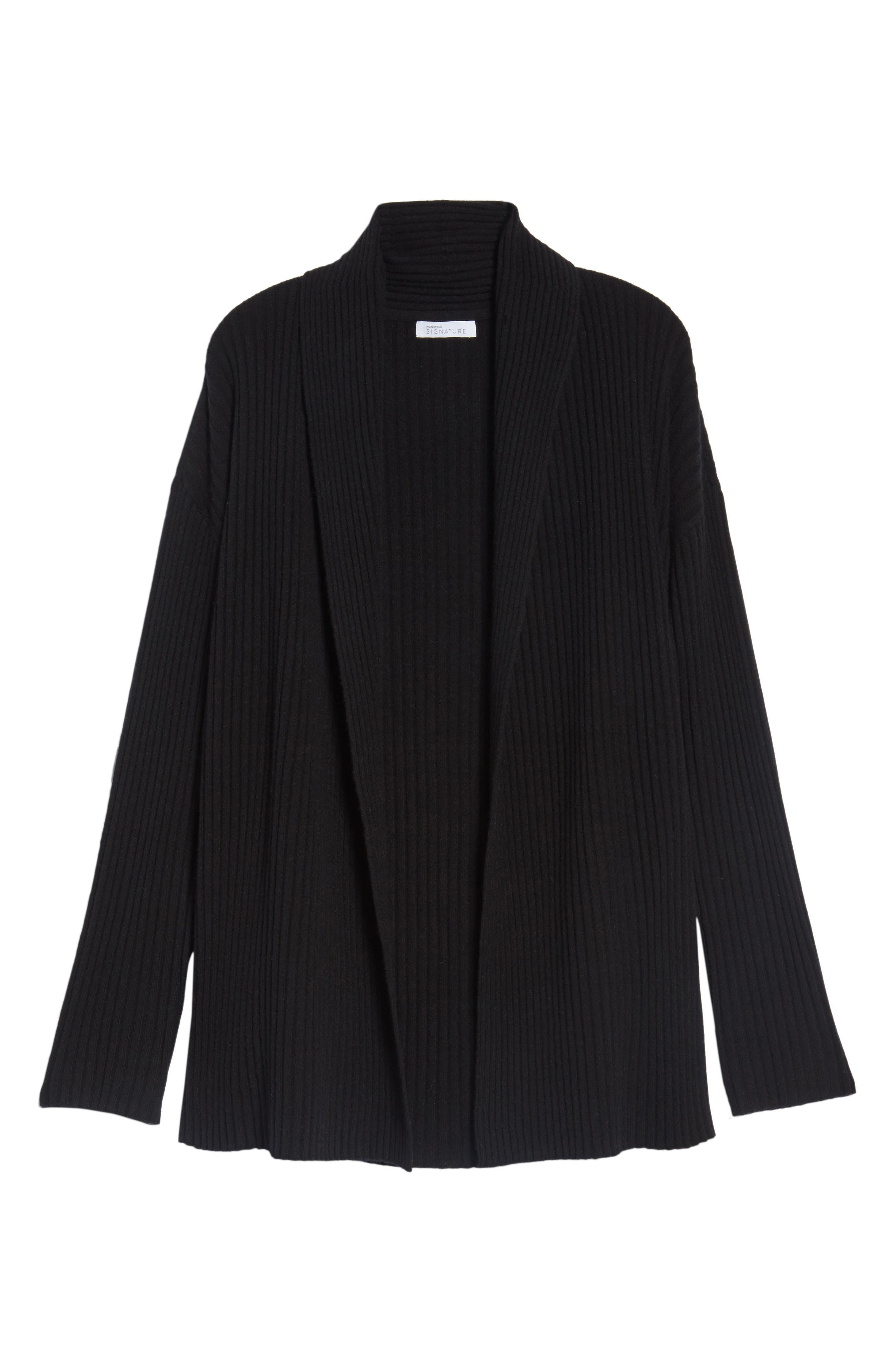 Rib Knit Cashmere Cardigan,                             Alternate thumbnail 4, color,                             Black