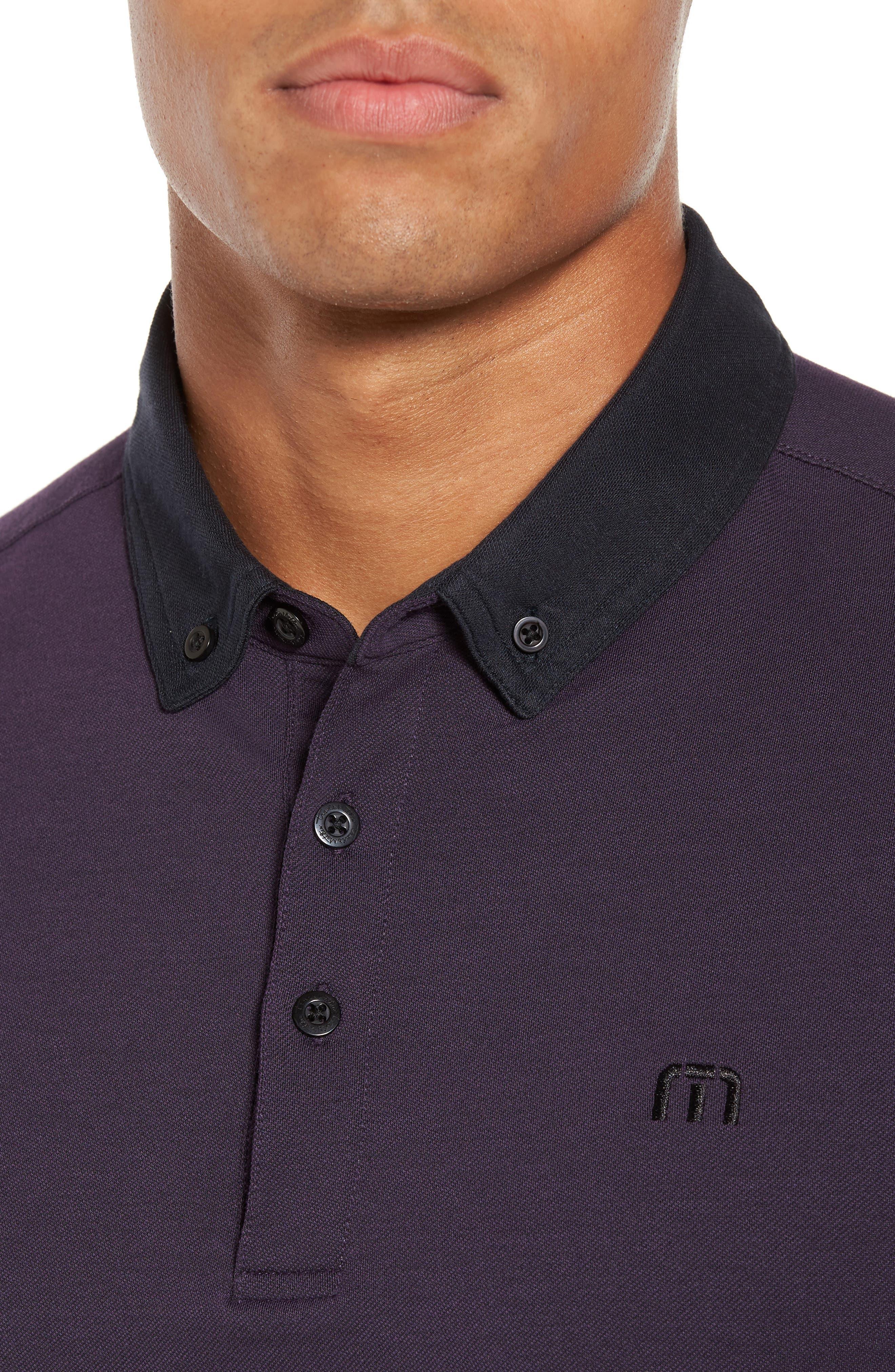 Irving Piqué Polo,                             Alternate thumbnail 4, color,                             Purple Plumeria/ Black