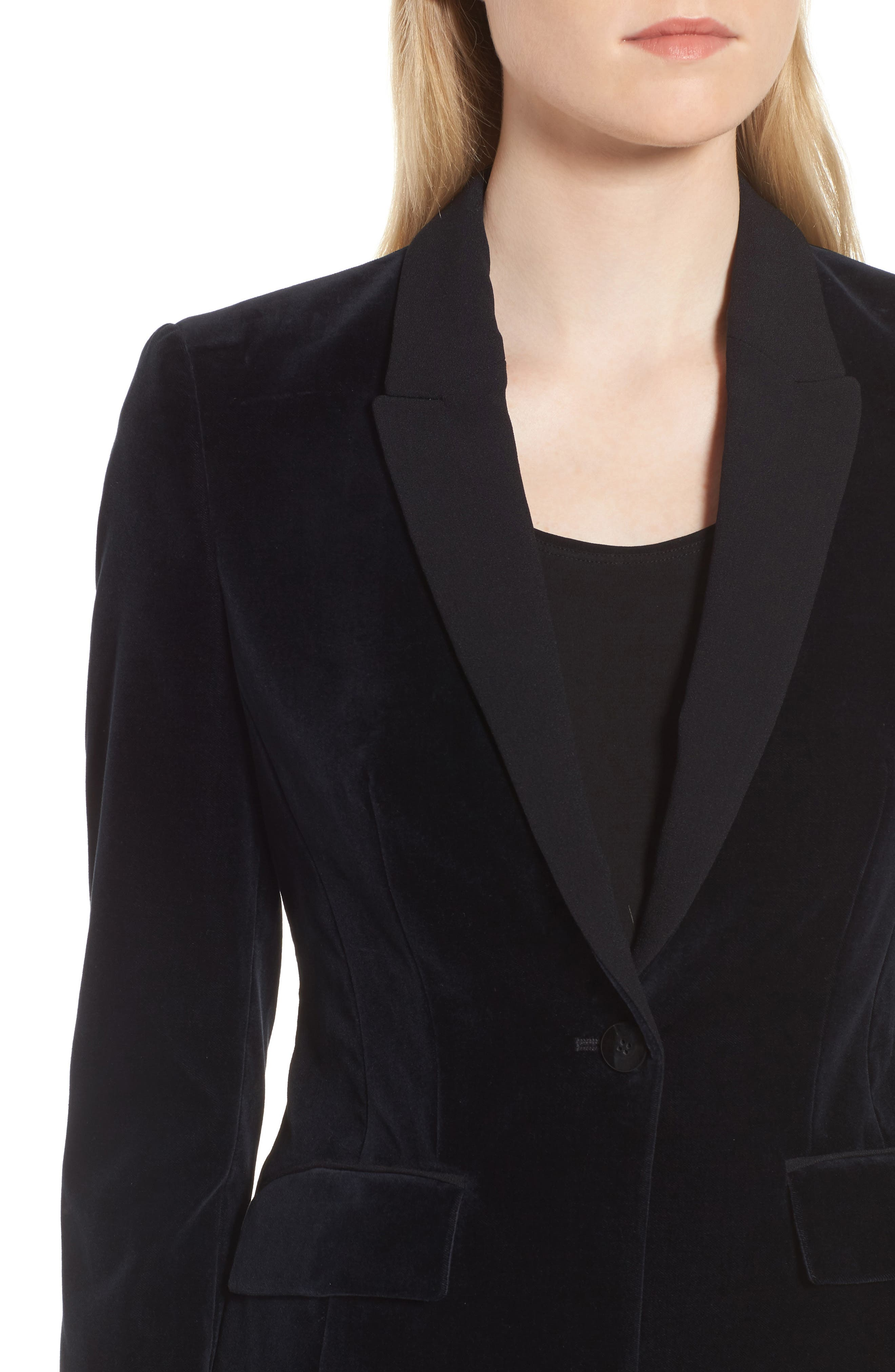 Jeronala Velvet Tuxedo Jacket,                             Alternate thumbnail 4, color,                             Navy
