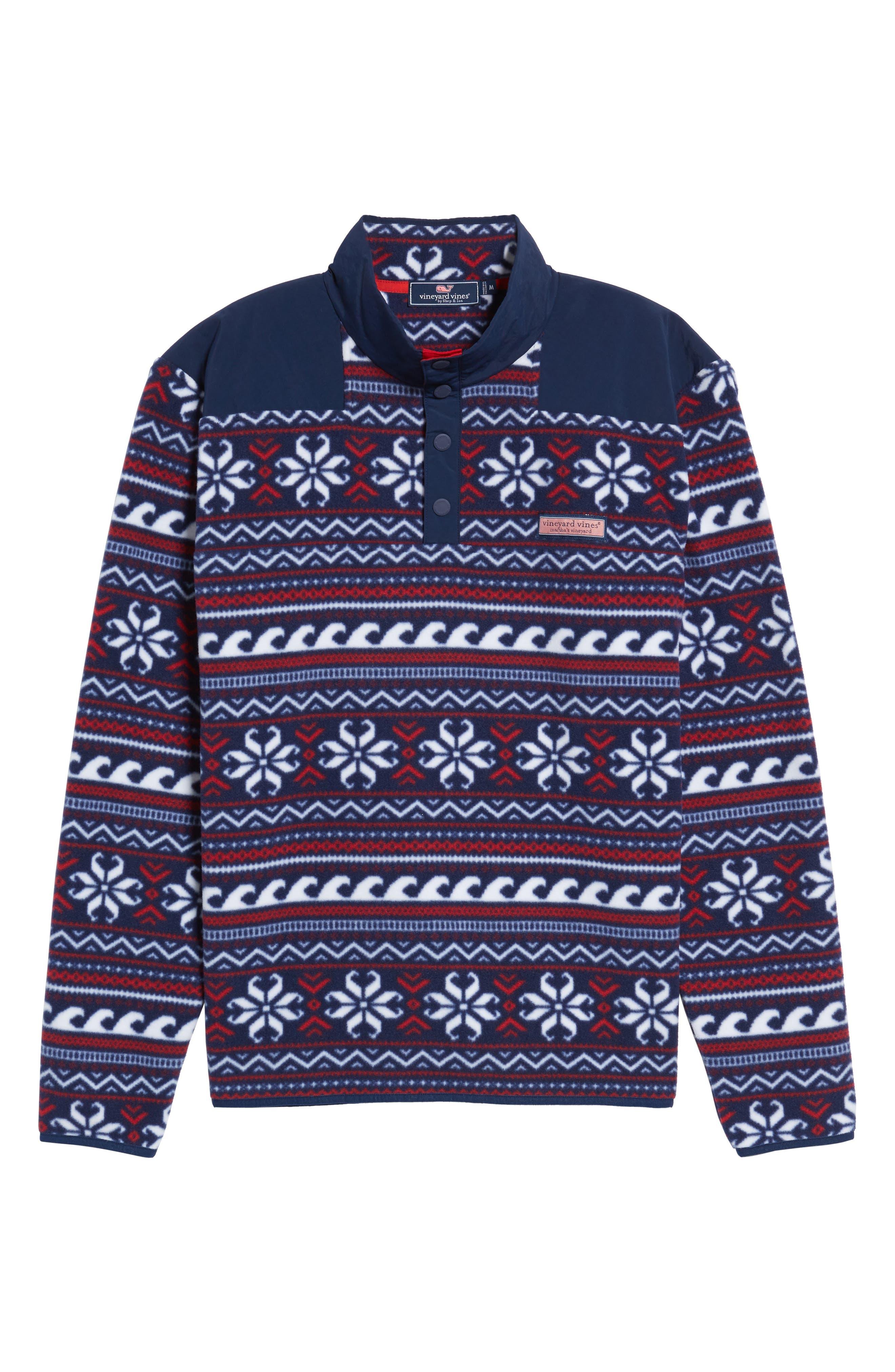 Fair Isle Quarter Snap Fleece Pullover,                             Alternate thumbnail 6, color,                             Multi