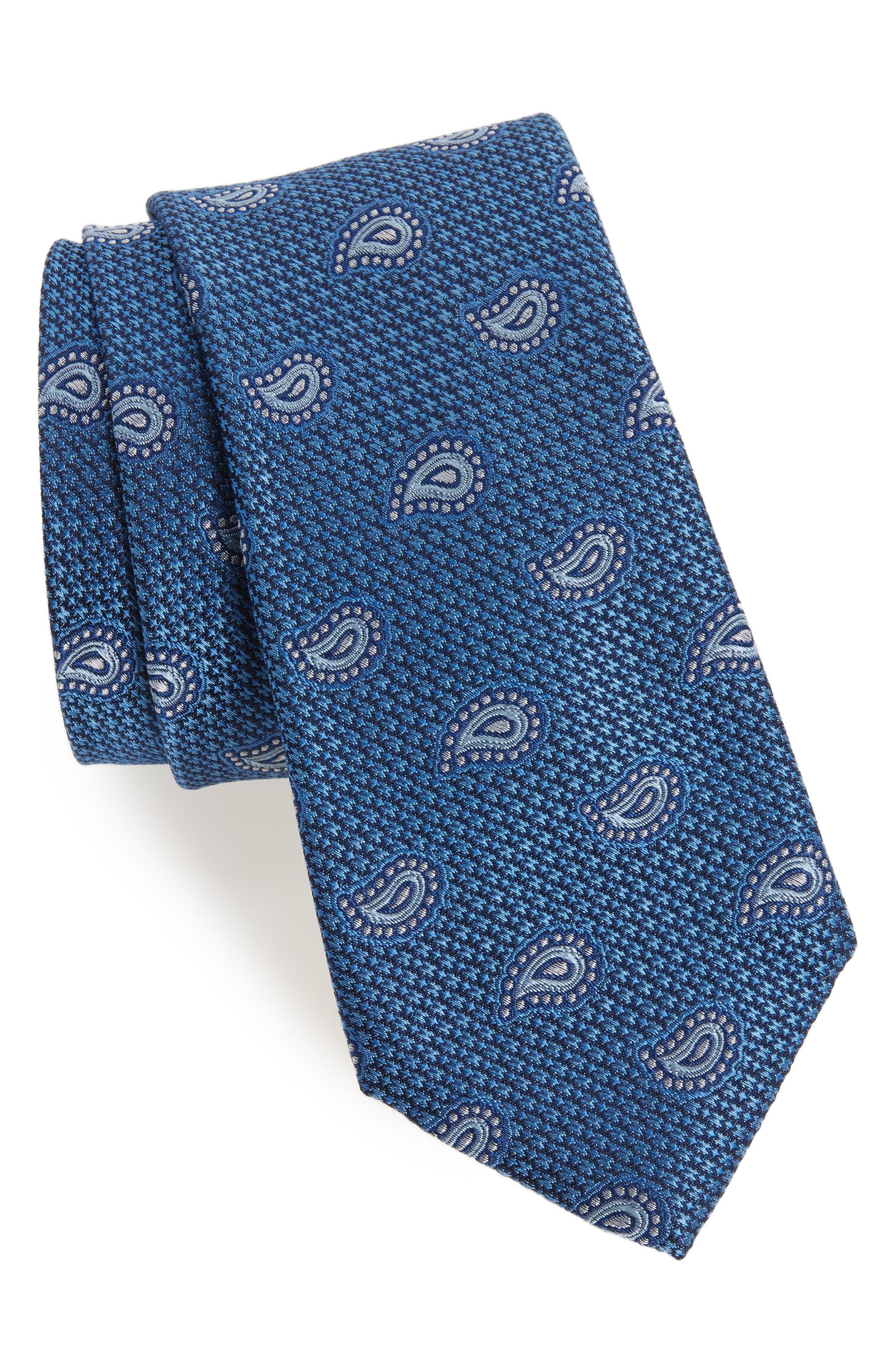 Textured Pines Silk Tie,                         Main,                         color, Blue