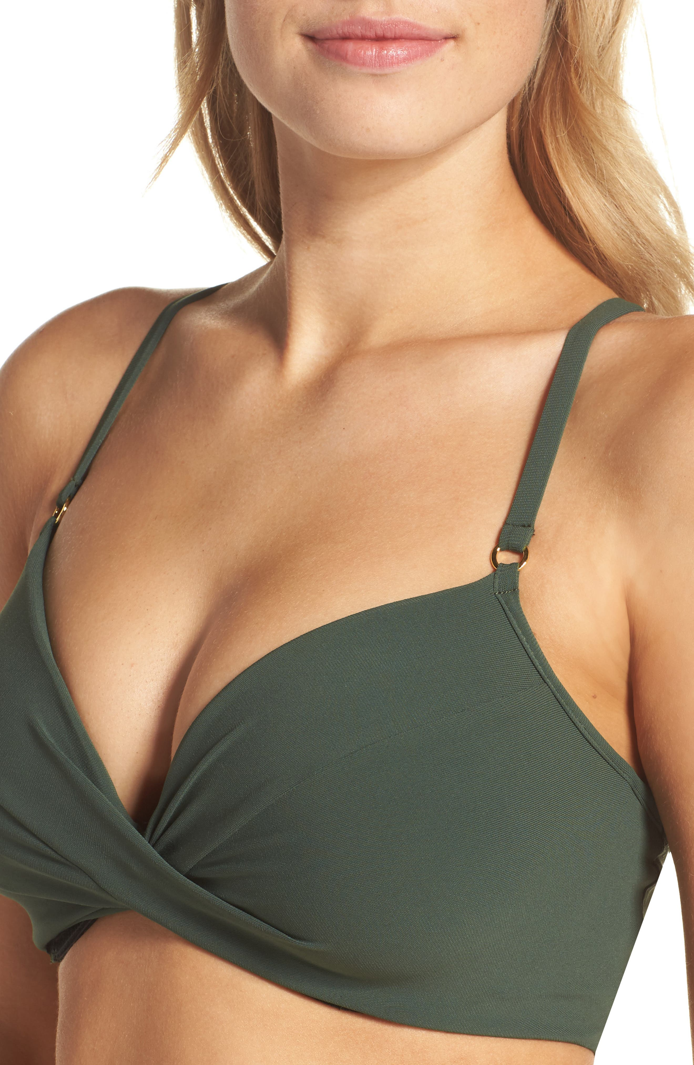 Ava Underwire D-Cup Bikini Top,                             Alternate thumbnail 4, color,                             Deep Forest
