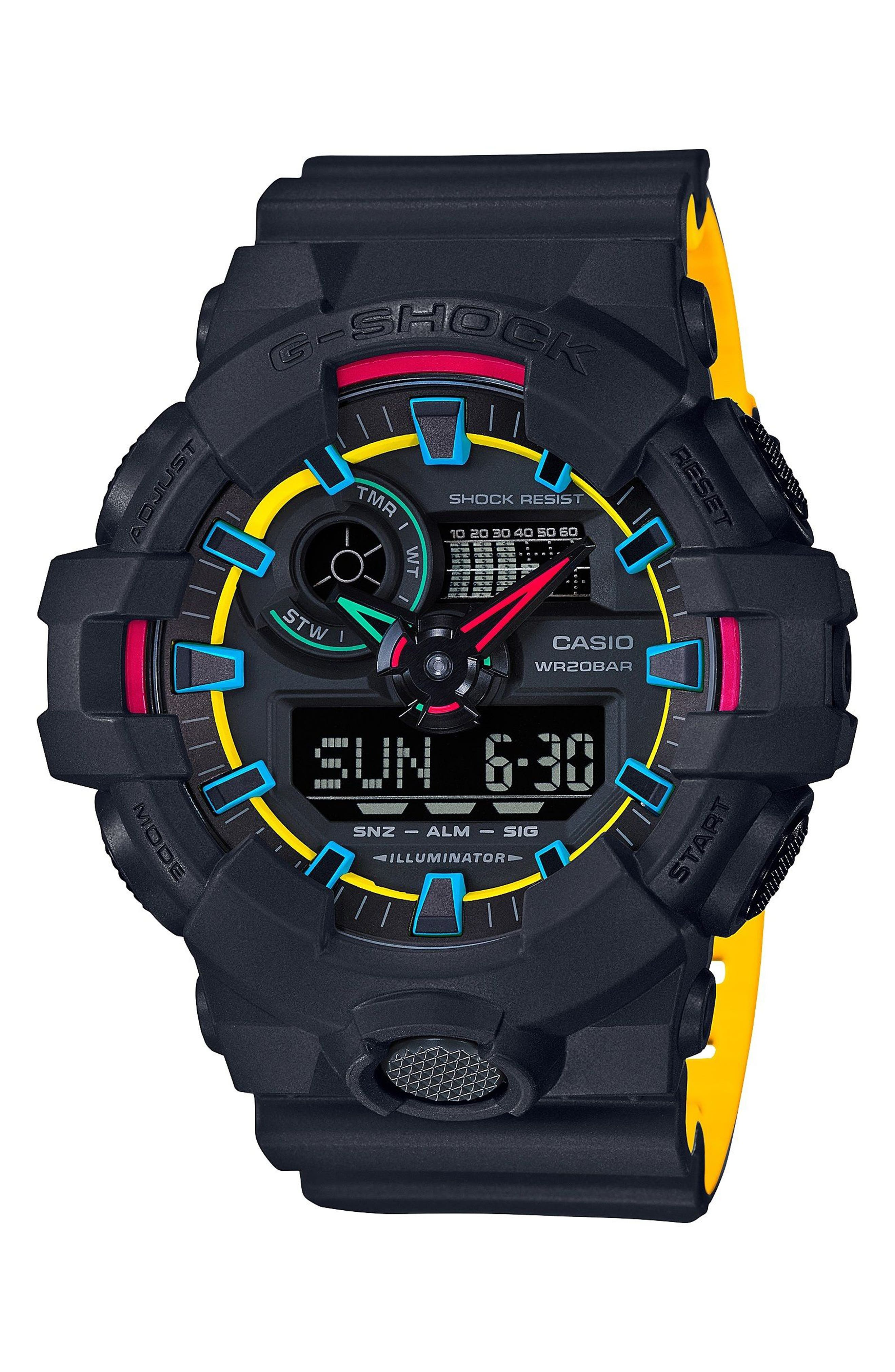 Military Ana-Digi Watch, 53mm,                         Main,                         color, Black/ Yellow