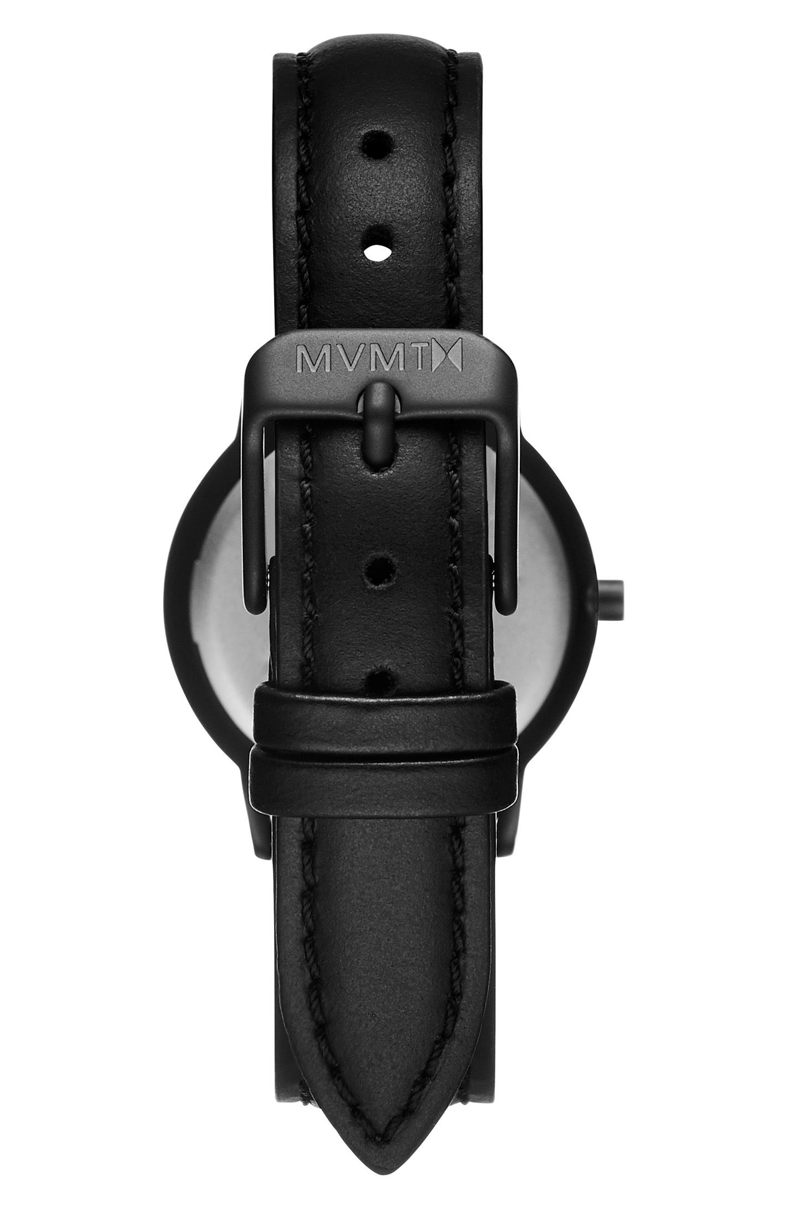 Belamar Leather Strap Watch, 28mm,                             Alternate thumbnail 4, color,                             Black