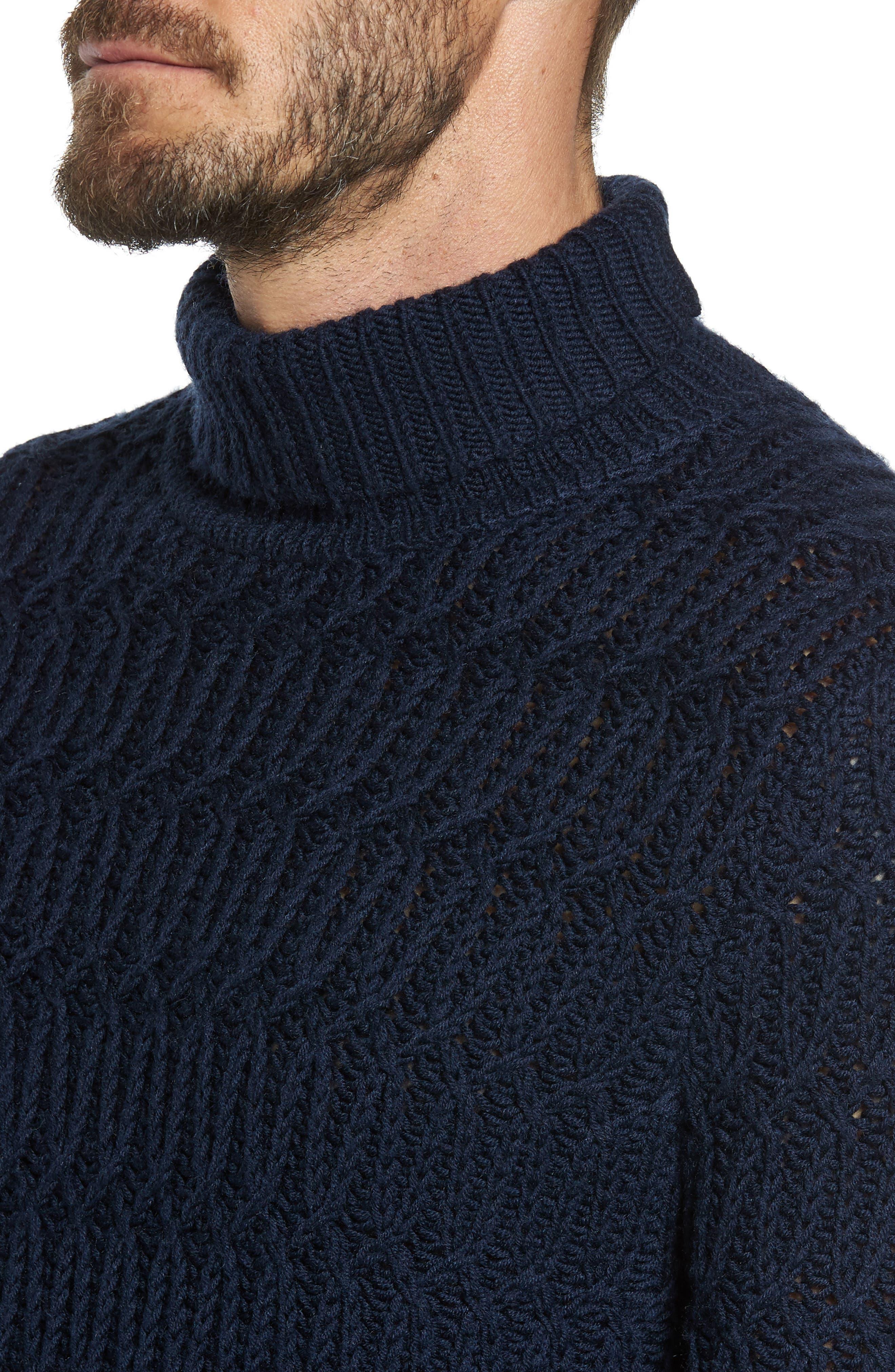 Chunky Turtleneck Sweater,                             Alternate thumbnail 6, color,                             Navy Iris