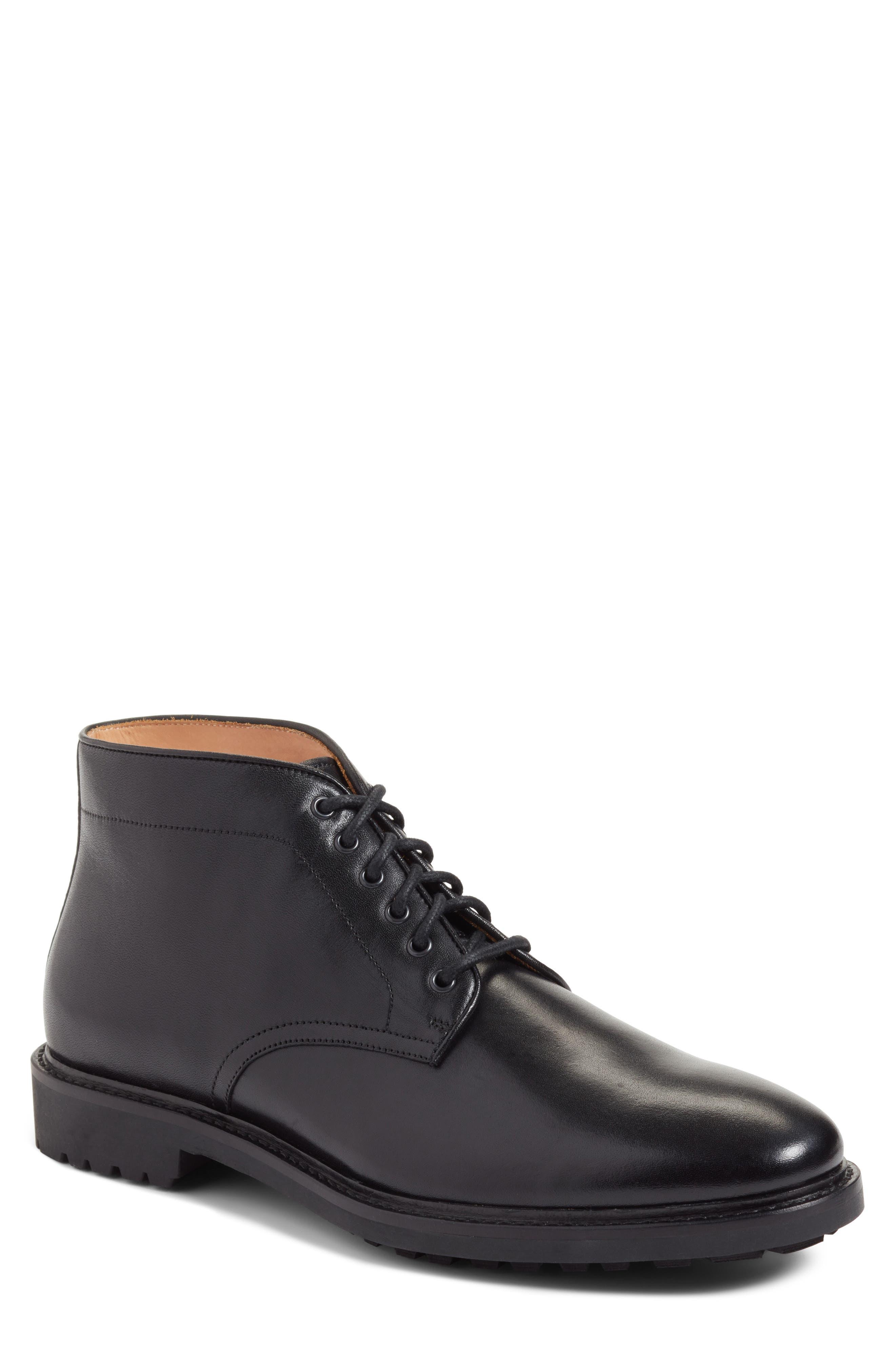 Ramiro Plain Toe Boot,                             Main thumbnail 1, color,                             Black Leather