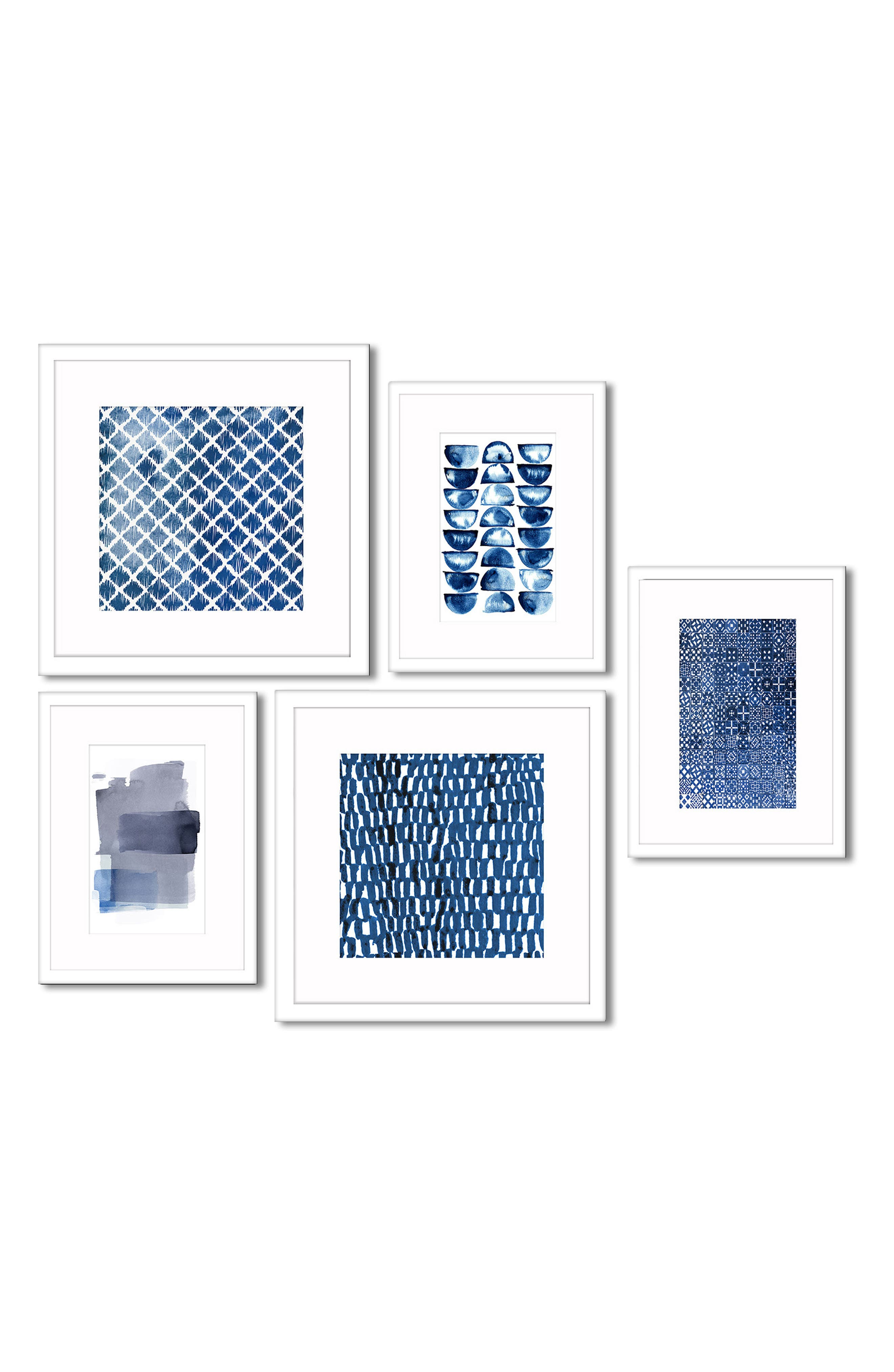 5-Piece Framed Wall Art Gallery,                         Main,                         color, Blue