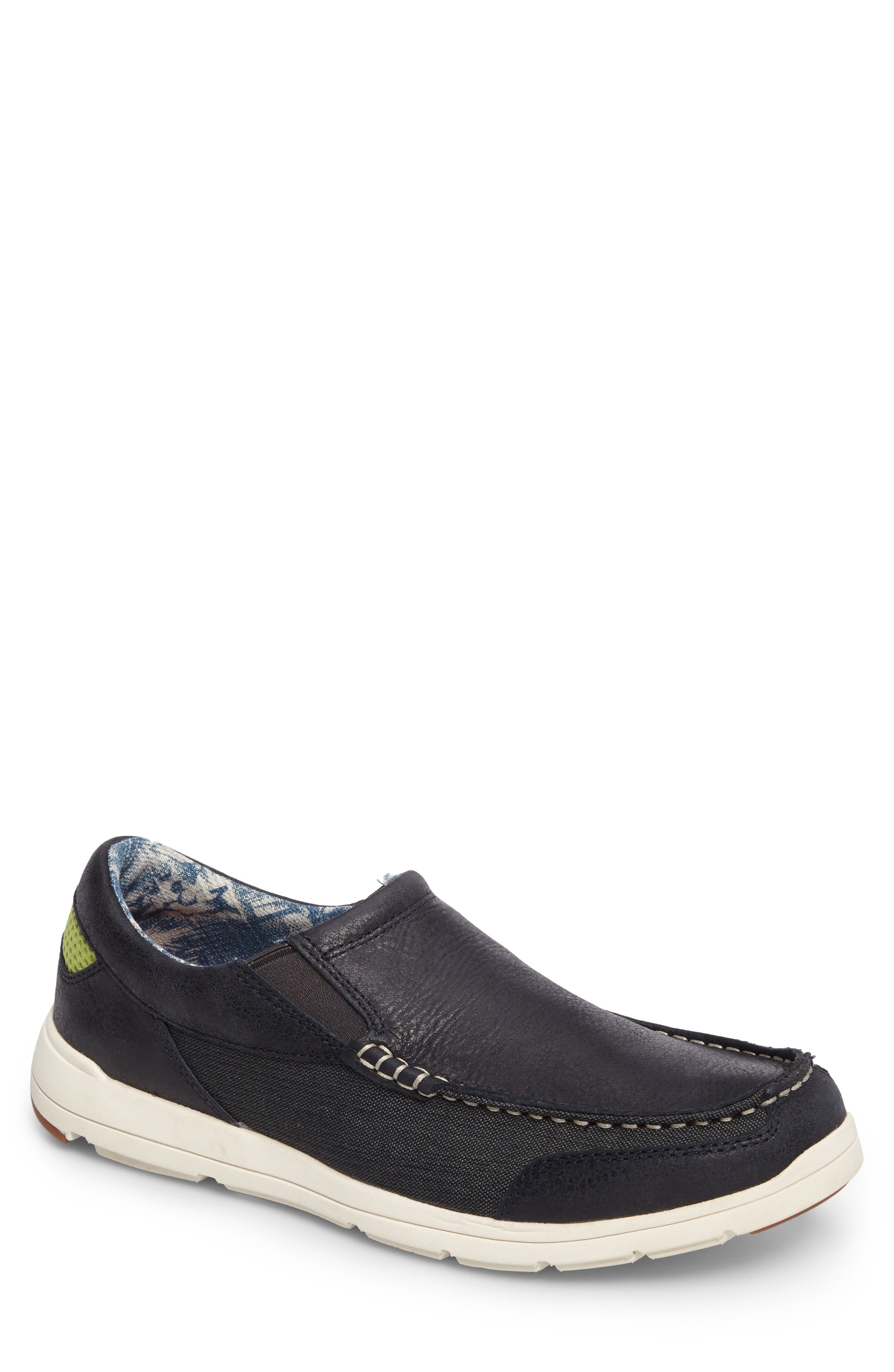 Paradise Around Slip-On,                         Main,                         color, Navy Leather/ Canvas