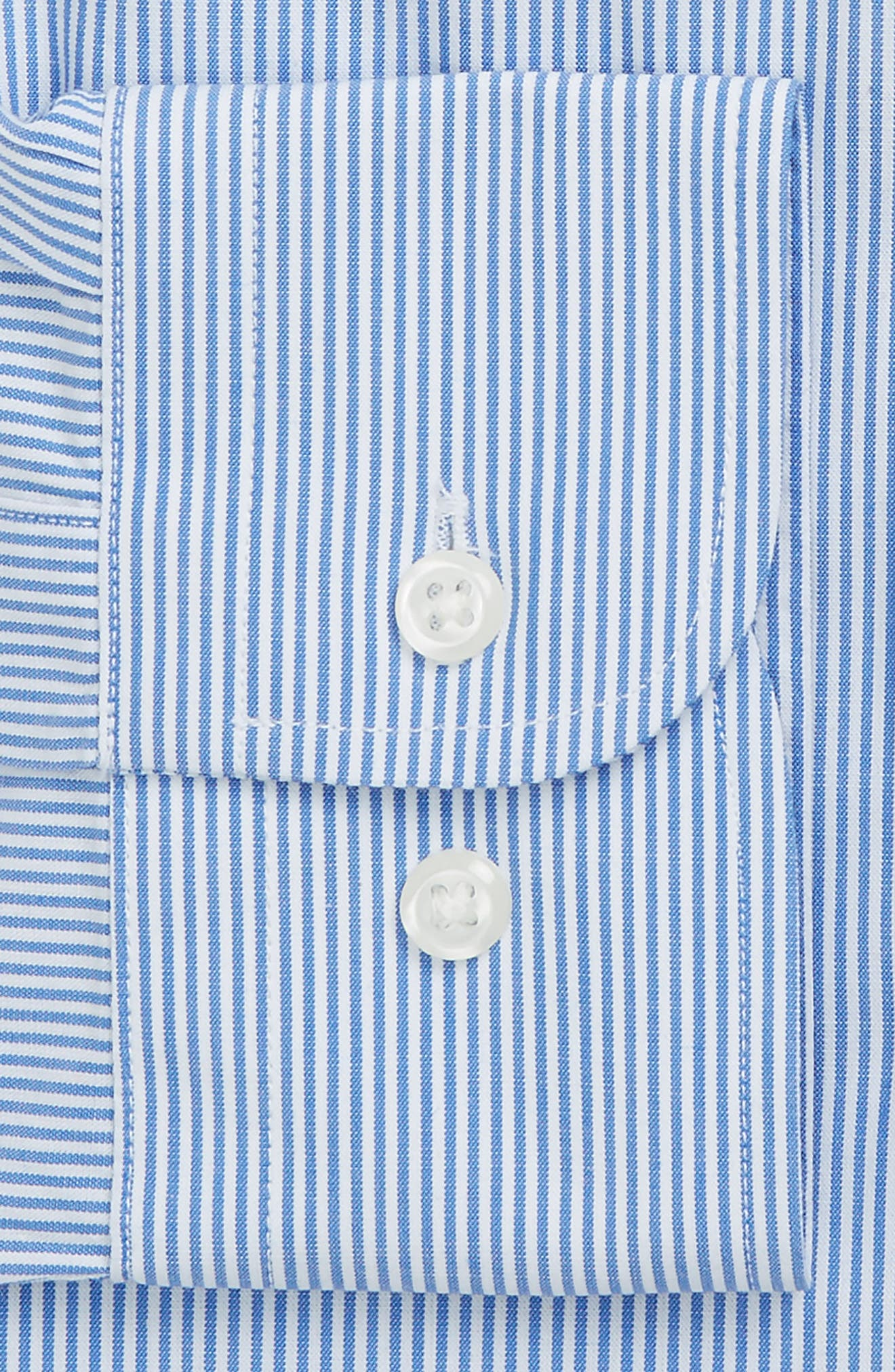 Tech-Smart Traditional Fit Stretch Stripe Dress Shirt,                             Alternate thumbnail 4, color,                             Blue Yonder