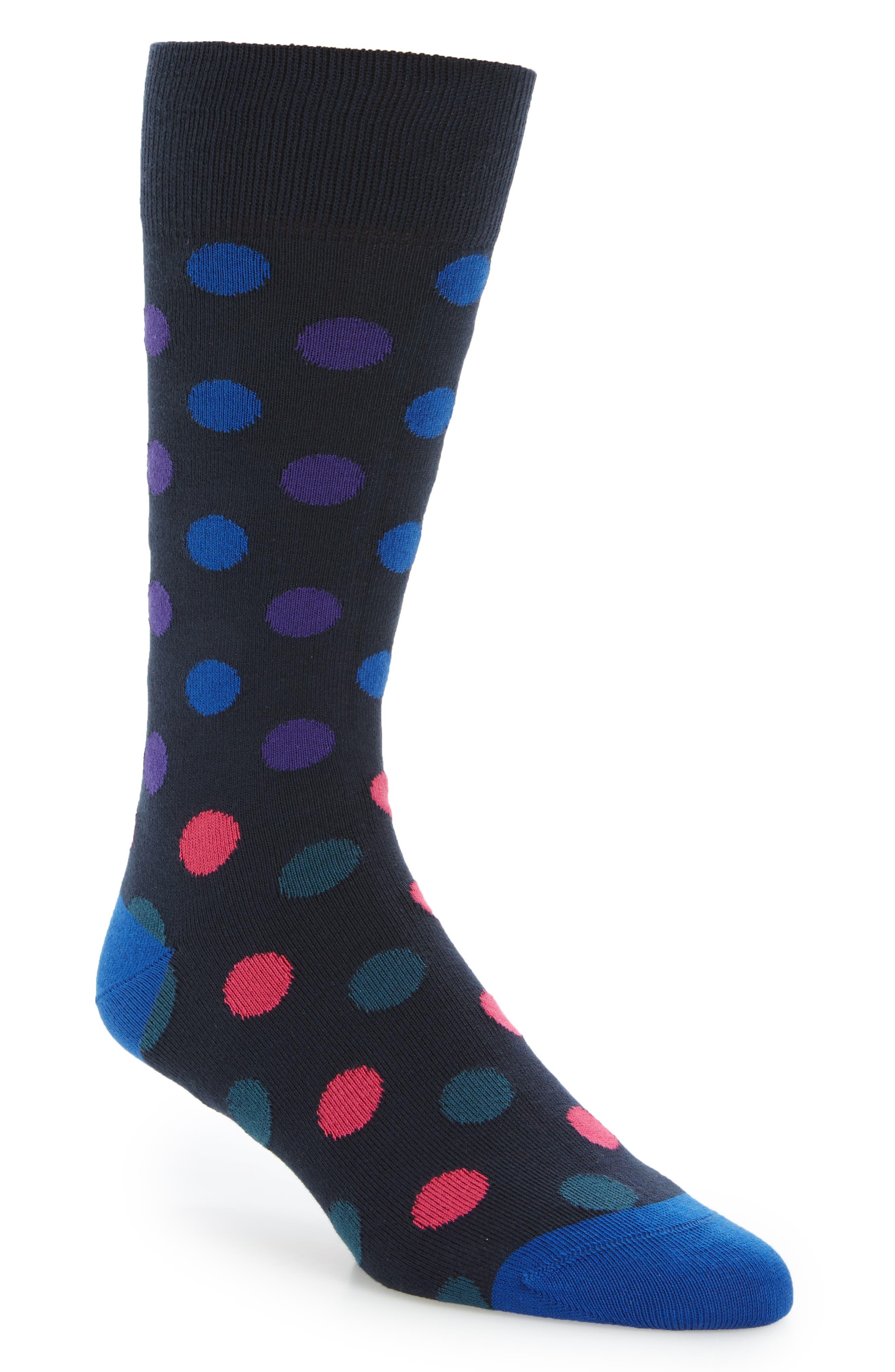 Samic Polka Dot Socks,                         Main,                         color, Blue