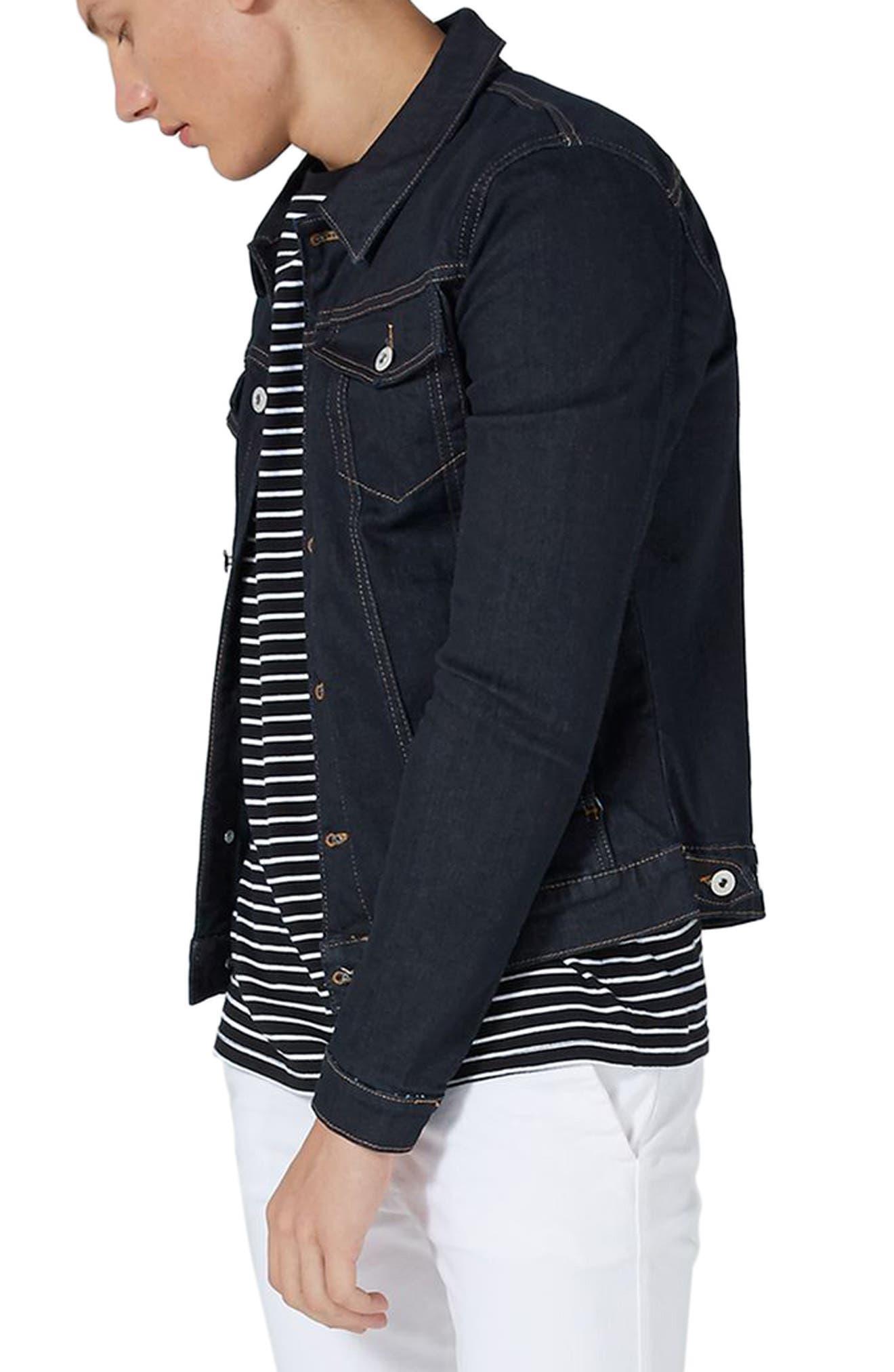 Main Image - Topman Raw Muscle Fit Denim Jacket