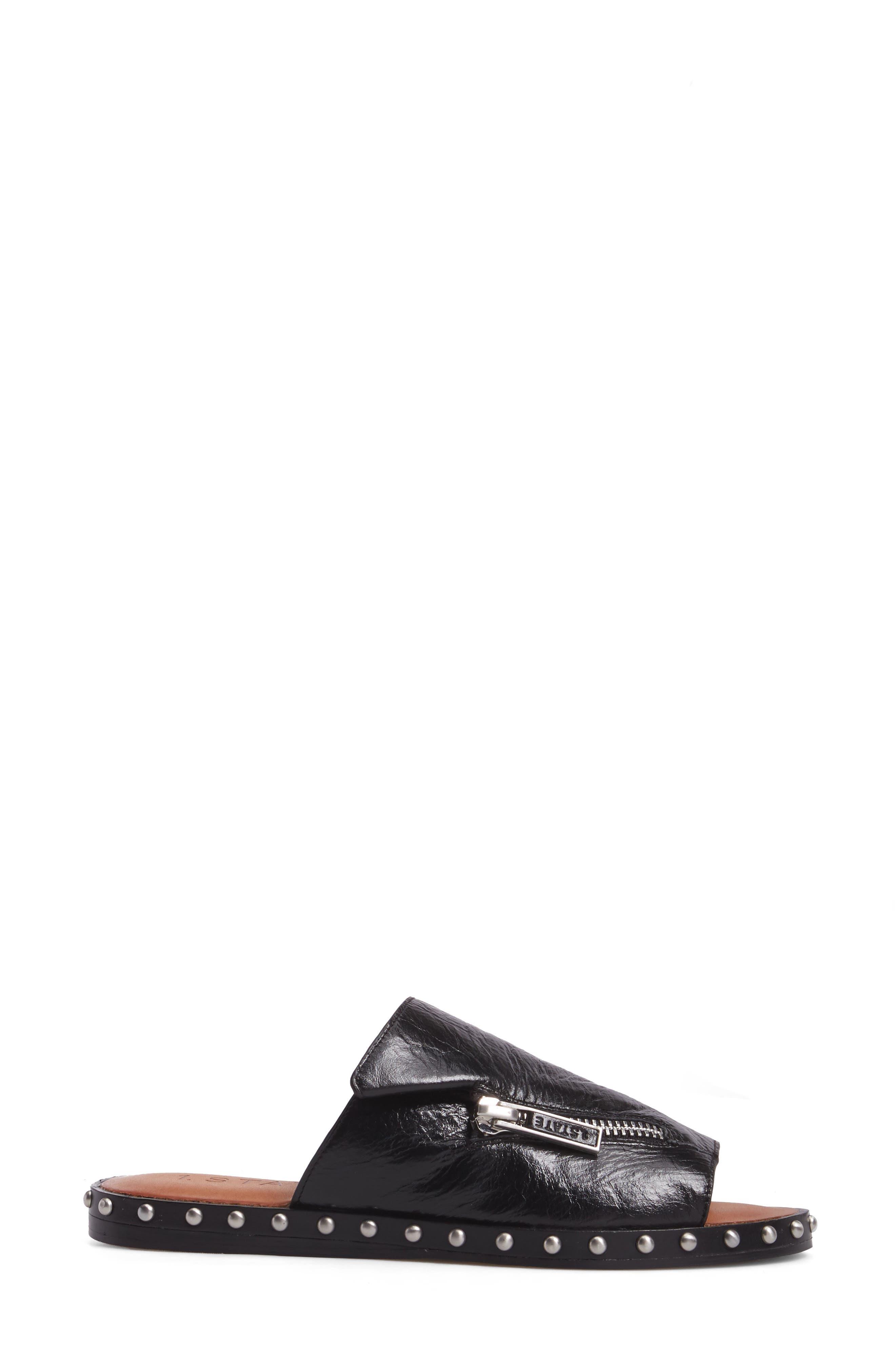 Cadwyn Slide Sandal,                             Alternate thumbnail 3, color,                             Black Leather