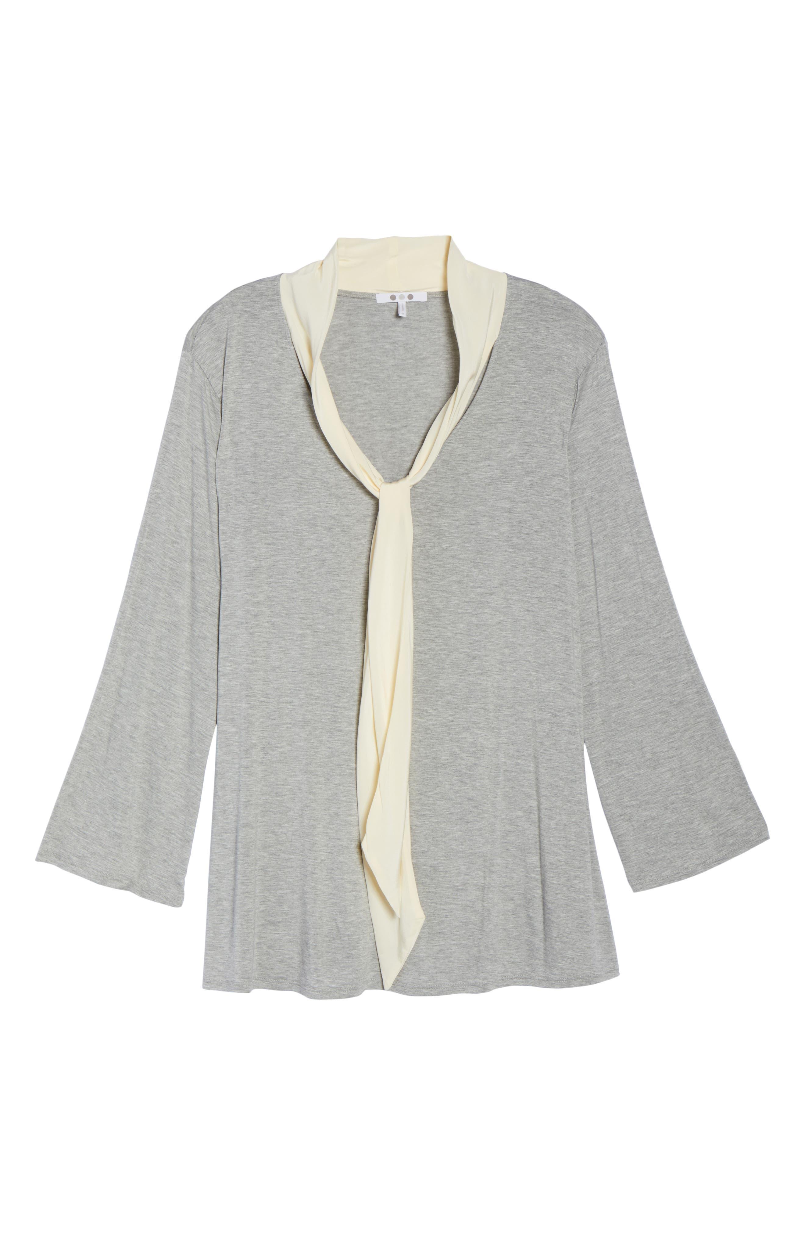 Alternate Image 6  - Three Dots Tie Neck Jersey Top (Plus Size)