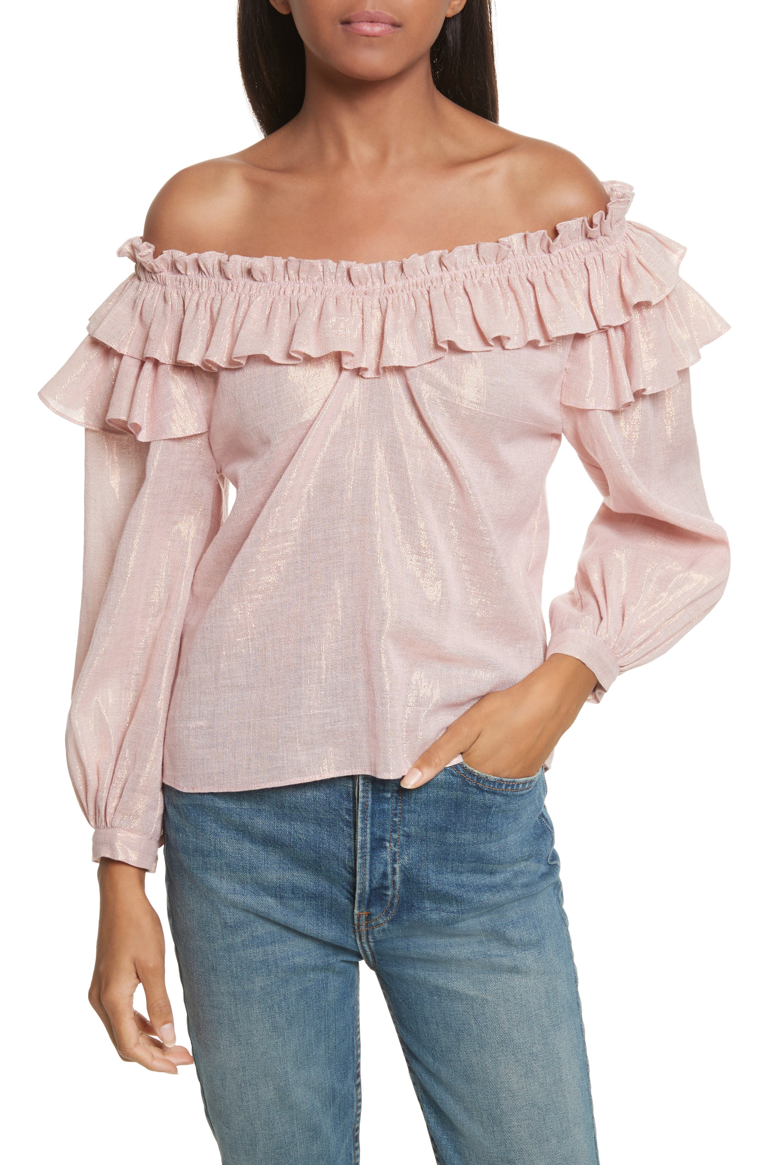 Main Image - La Vie Rebecca Taylor Off the Shoulder Metallic Ruffled Top