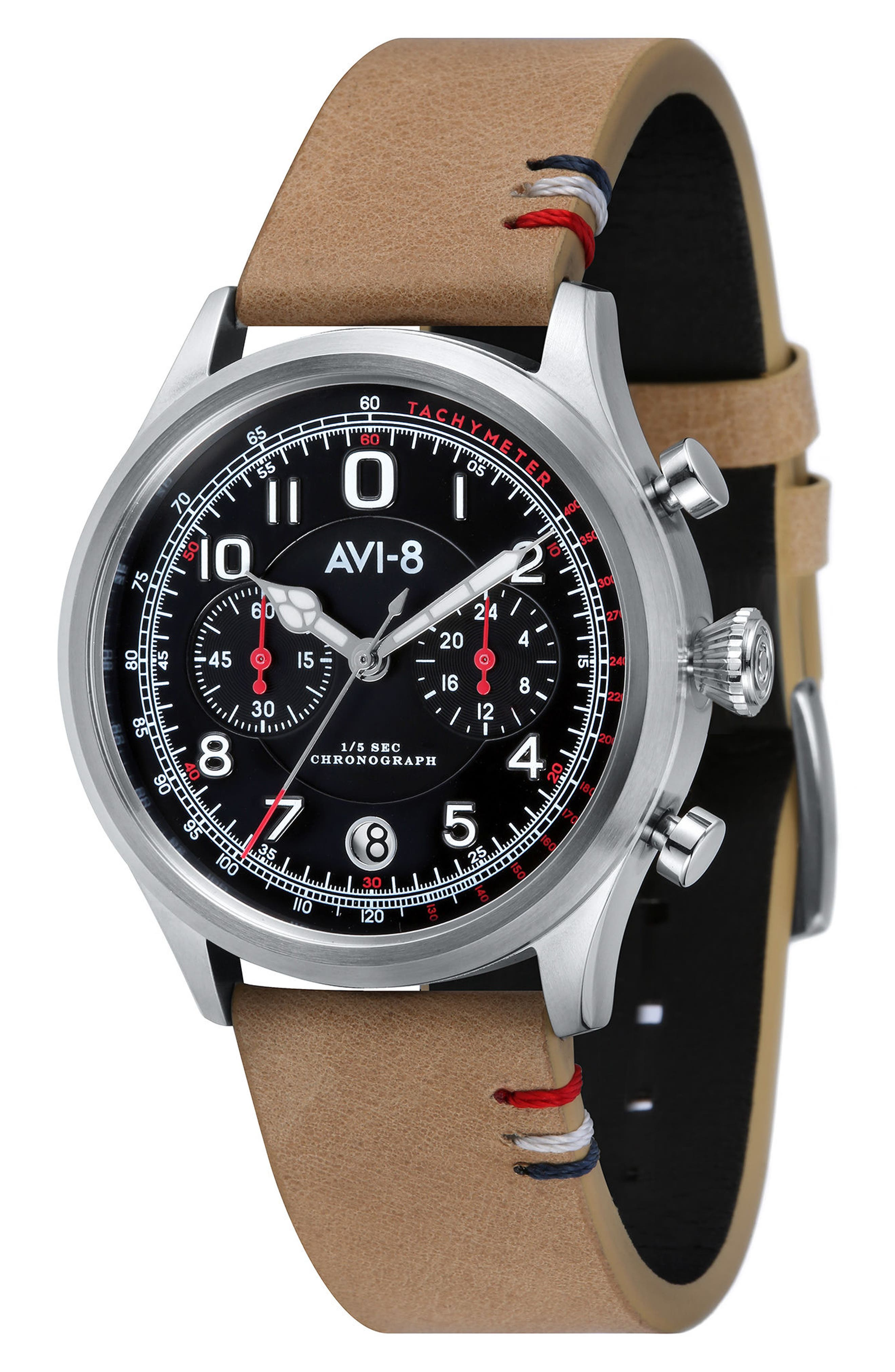 Flyboy Lafayette Chronograph Leather Strap Watch, 43mm,                         Main,                         color, Black/ Tan