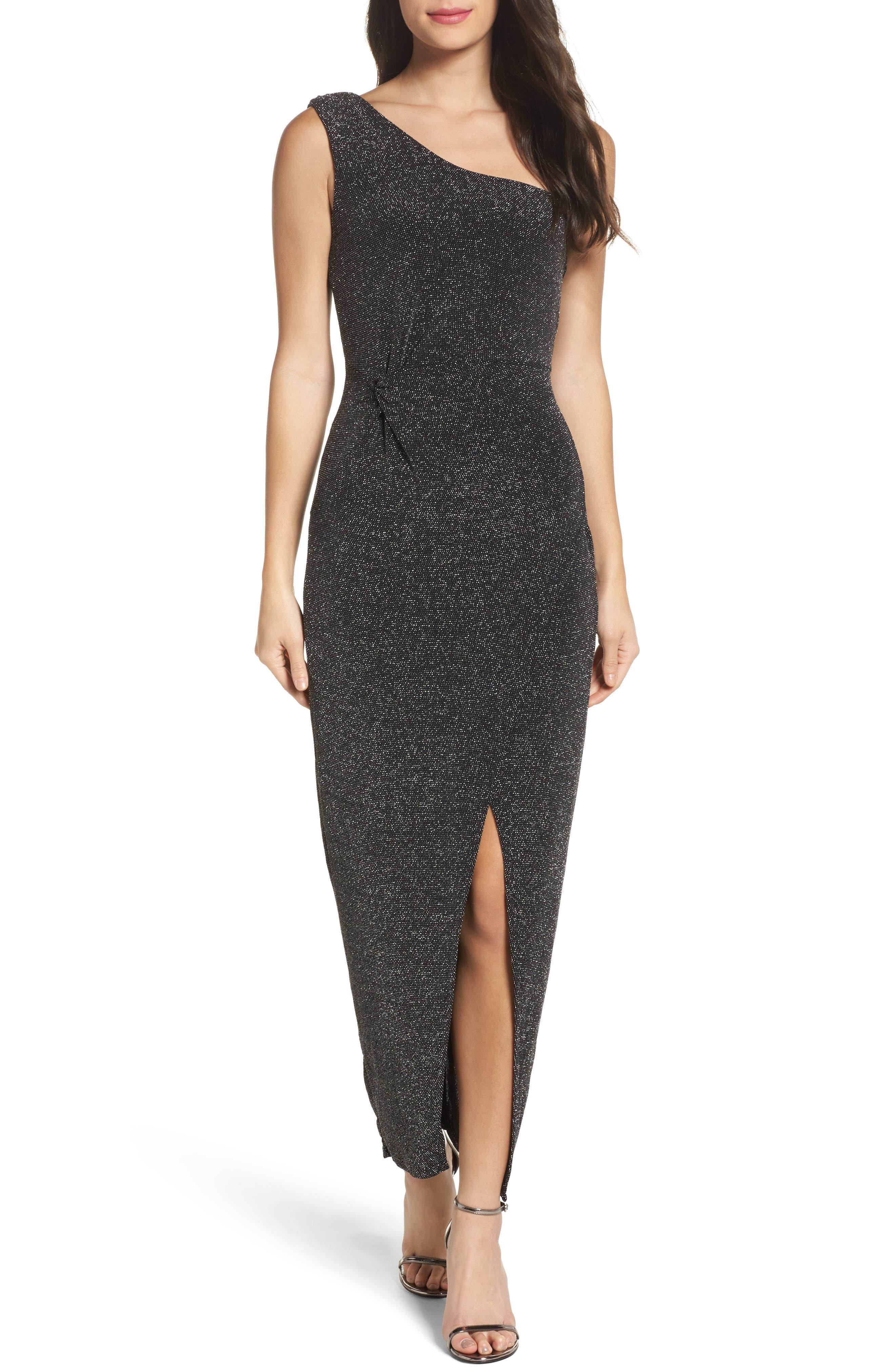 Slit Front One-Shoulder Gown,                         Main,                         color, Black