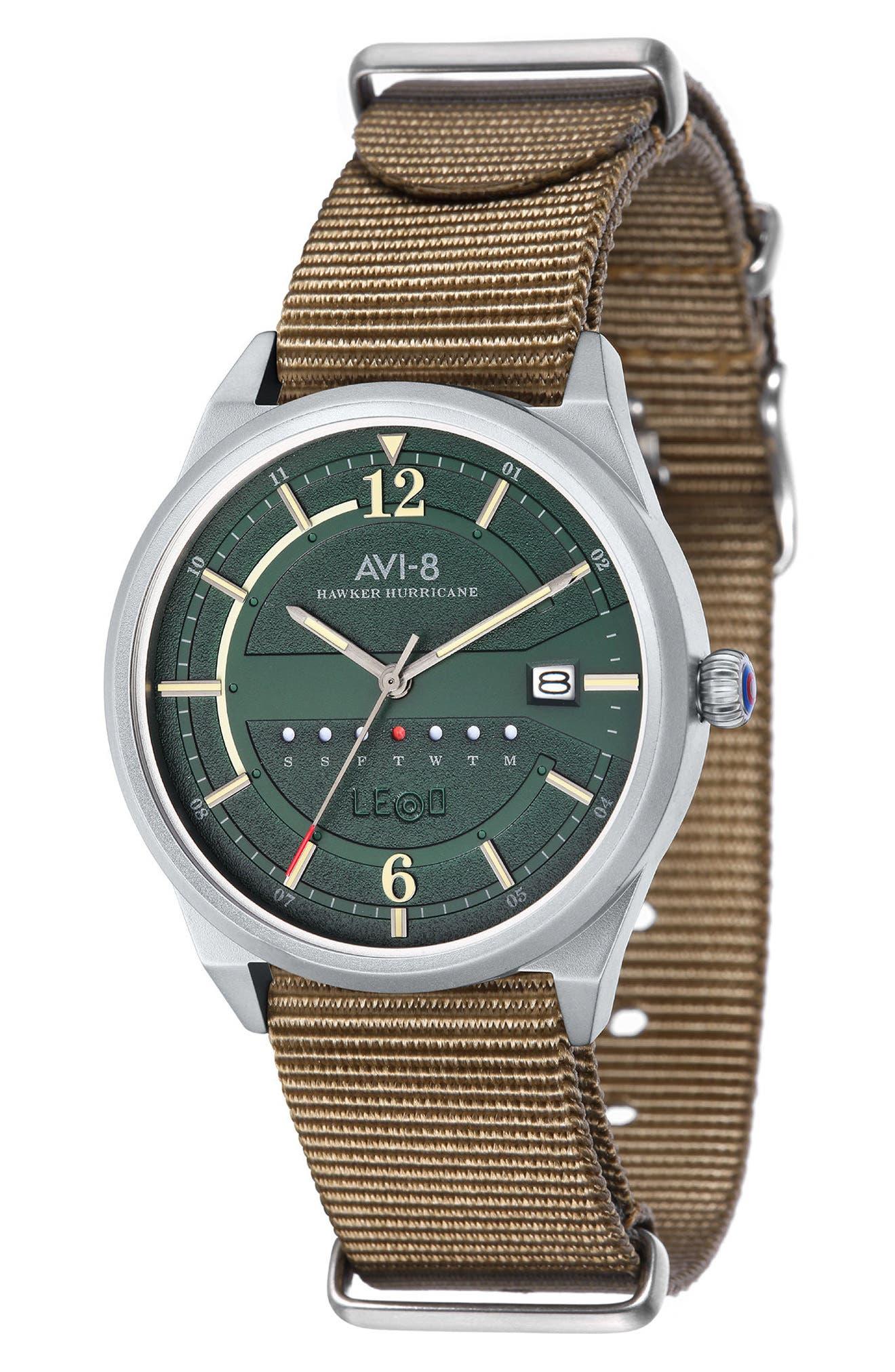 Hawker Hurricane NATO Strap Watch, 38mm,                         Main,                         color, Green/ Fatigue
