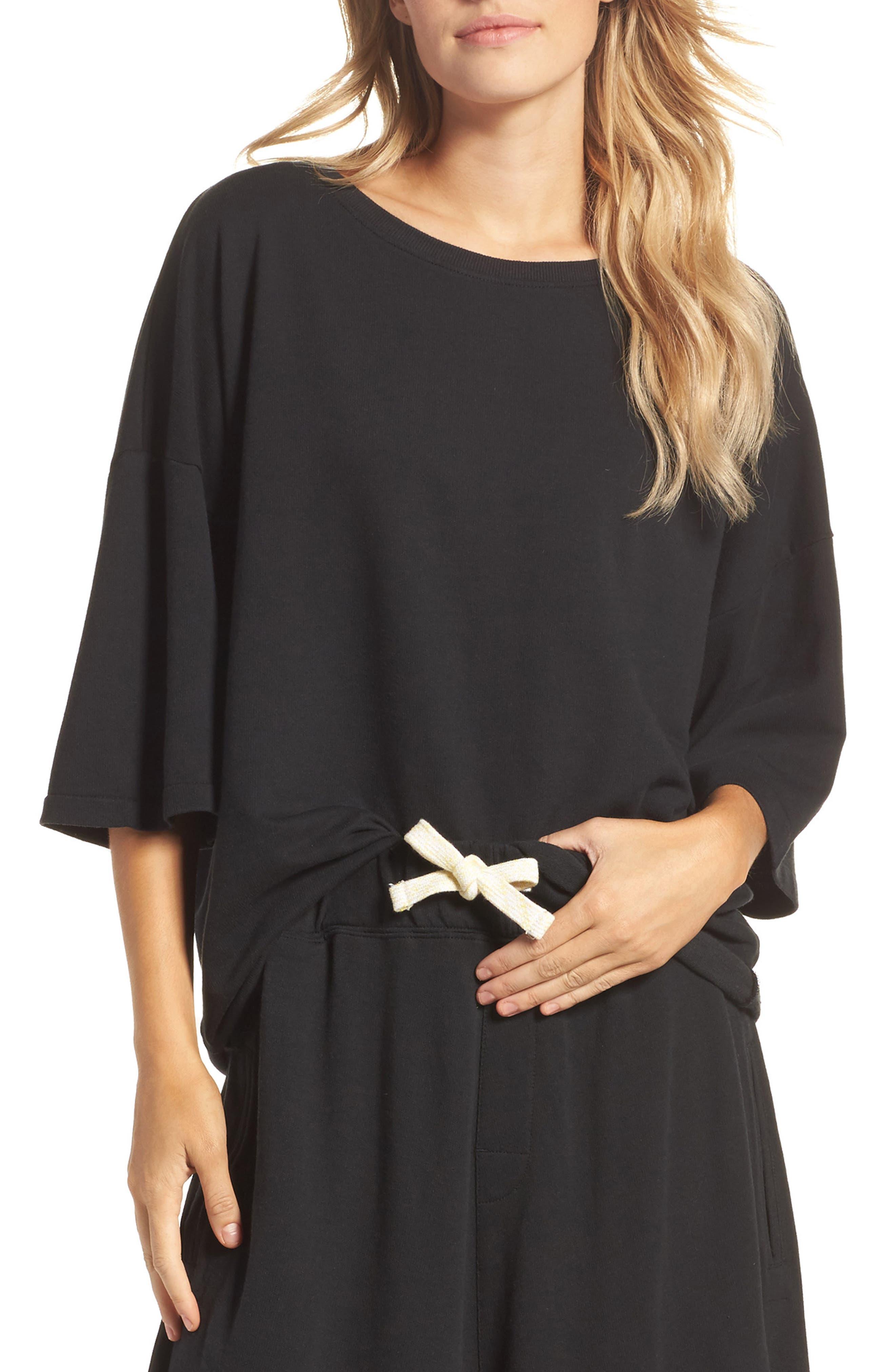 Soph Lounge Sweater,                         Main,                         color, Plain Black Marle