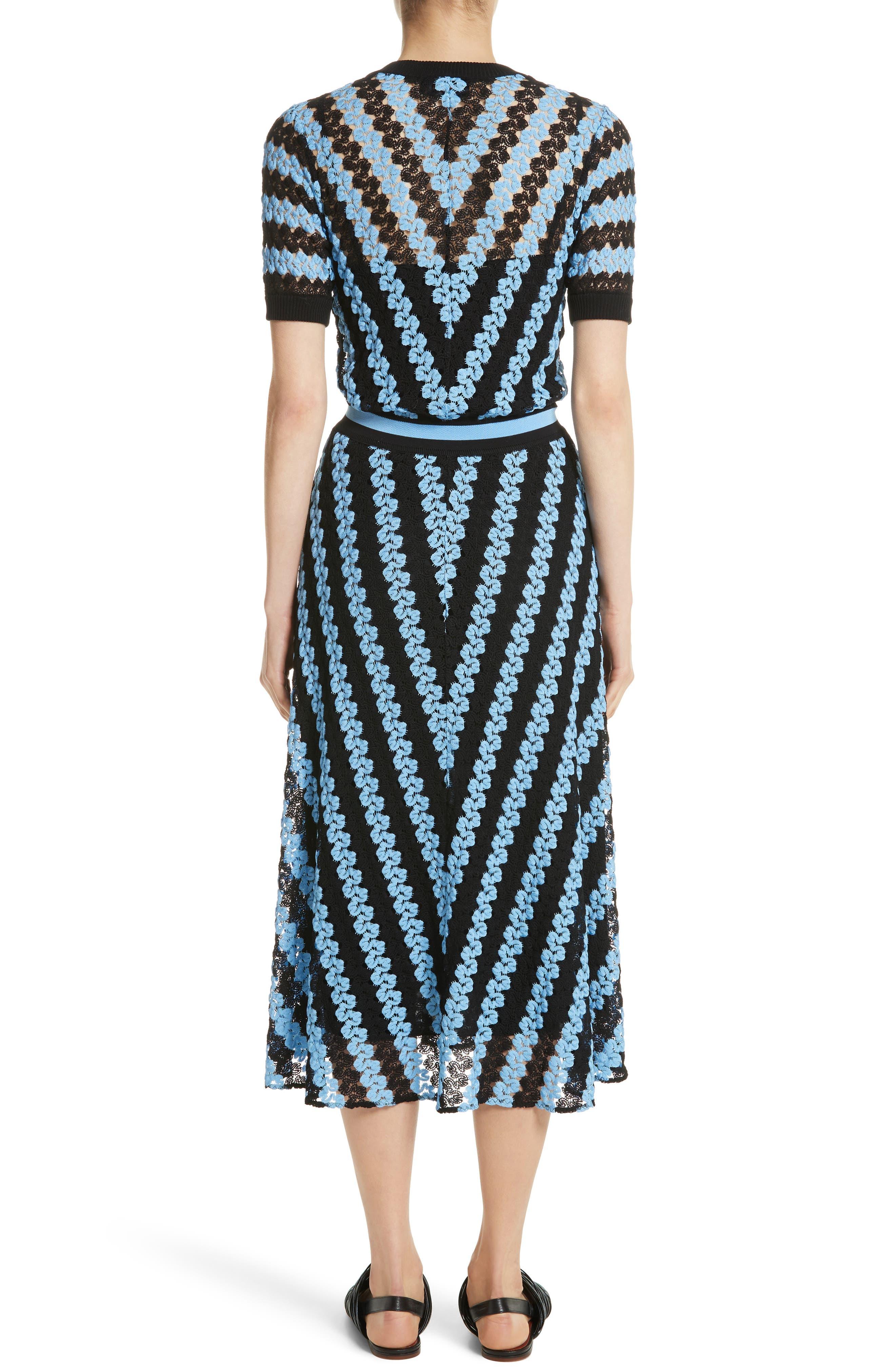 Chevron Knit Midi Dress,                             Alternate thumbnail 2, color,                             Blue