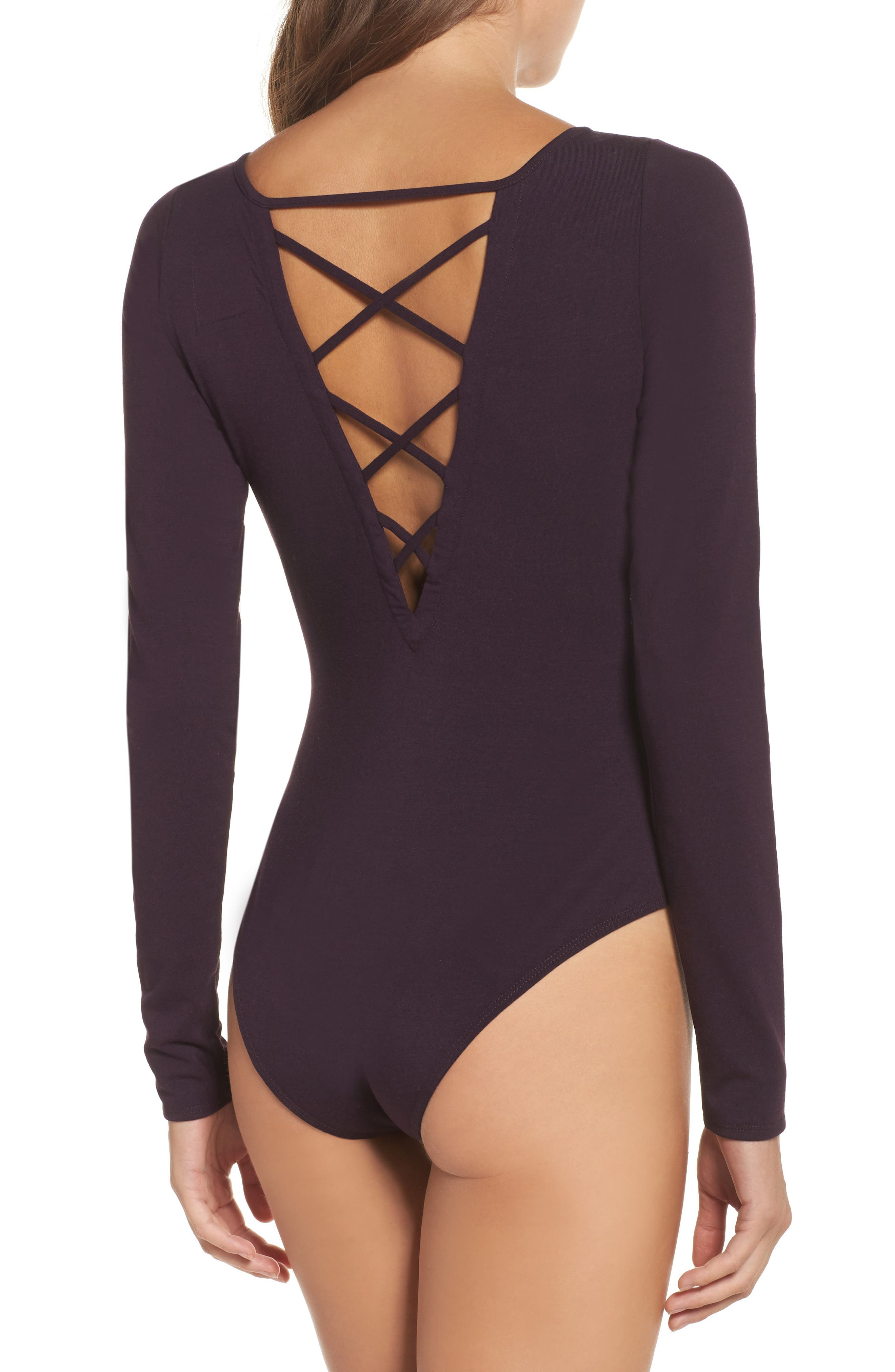 Crisscross Bodysuit,                             Alternate thumbnail 2, color,                             Raisin