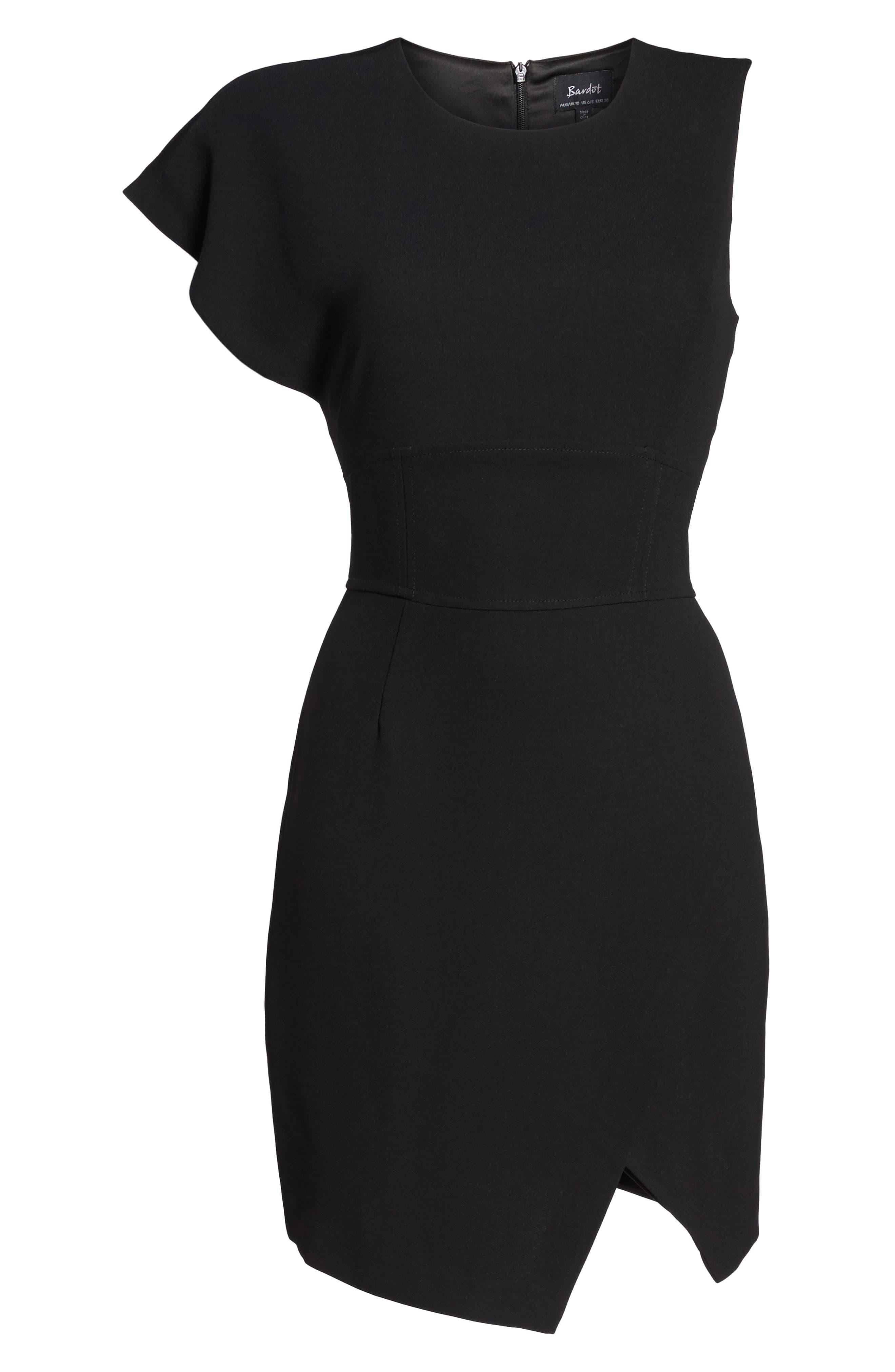 Maxwell Asymmetric Faux Wrap Dress,                             Alternate thumbnail 6, color,                             Black
