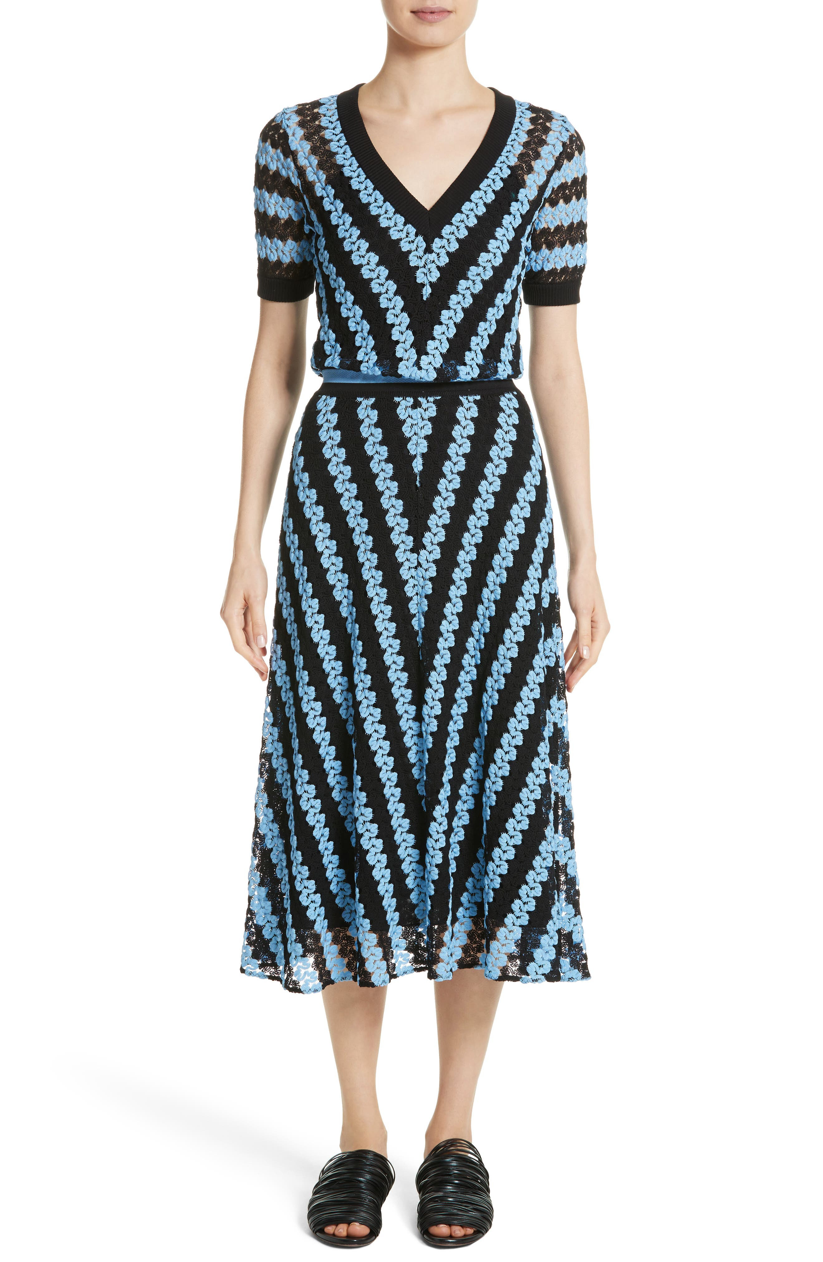 Chevron Knit Midi Dress,                         Main,                         color, Blue