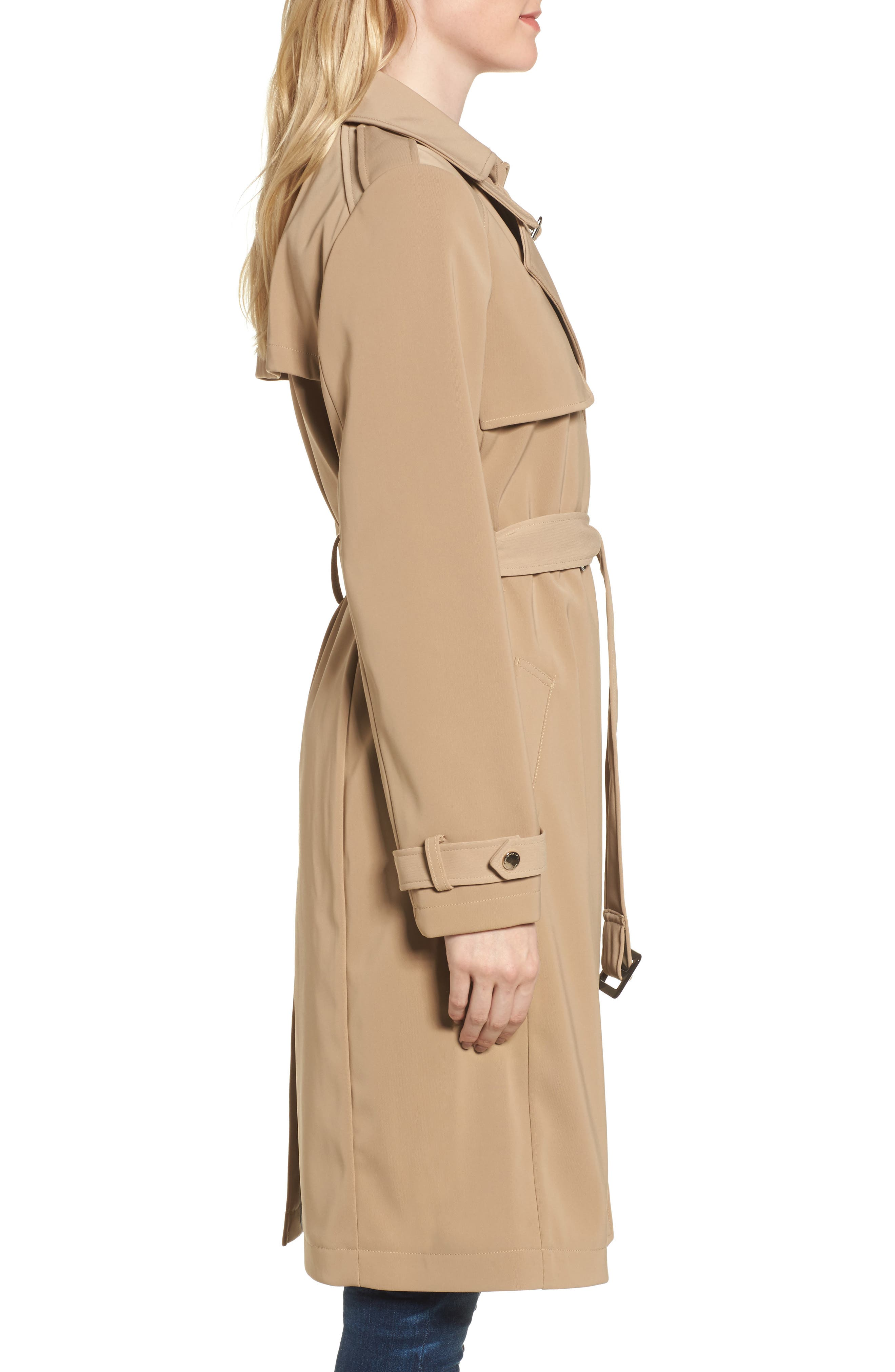 DKNY French Twill Water Resistant Trench Coat,                             Alternate thumbnail 3, color,                             Khaki