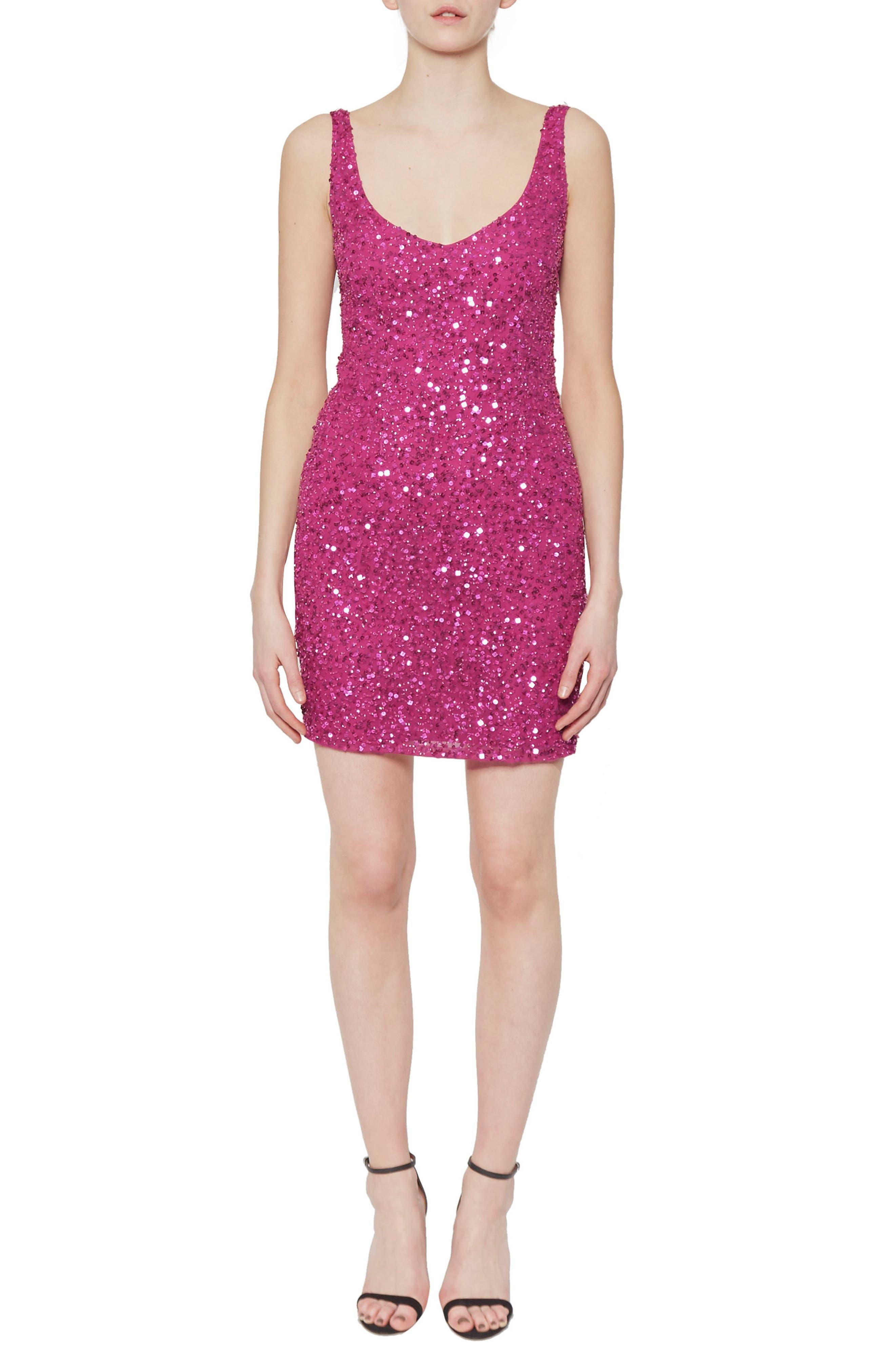Helen Sequin Body-Con Dress,                         Main,                         color, Dahlia Pink