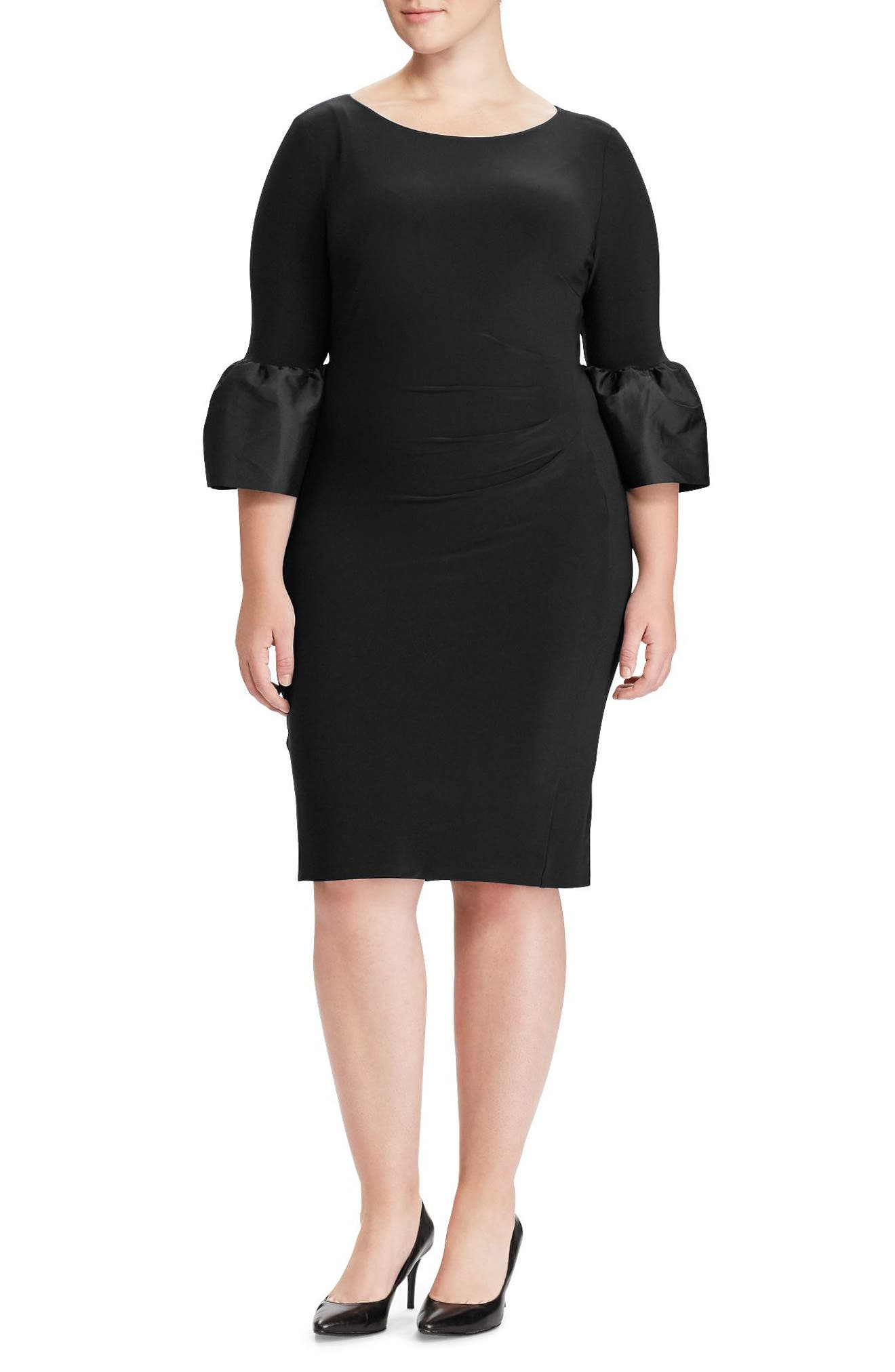 Main Image - Lauren Ralph Lauren Taffeta Cuff Jersey Dress (Plus Size)