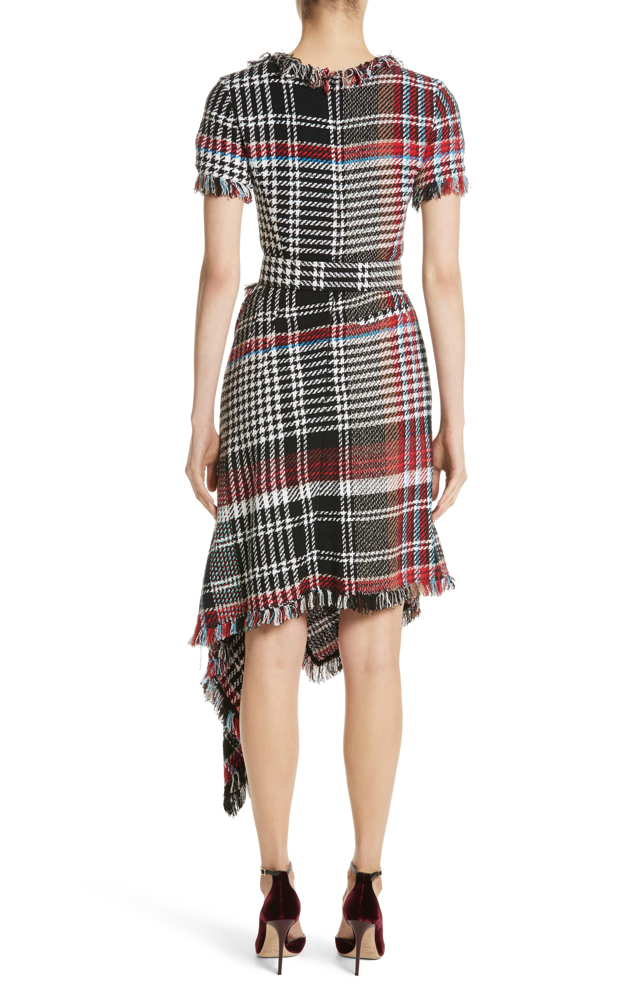 Alternate Image 2  - Oscar de la Renta Plaid Asymmetrical Dress