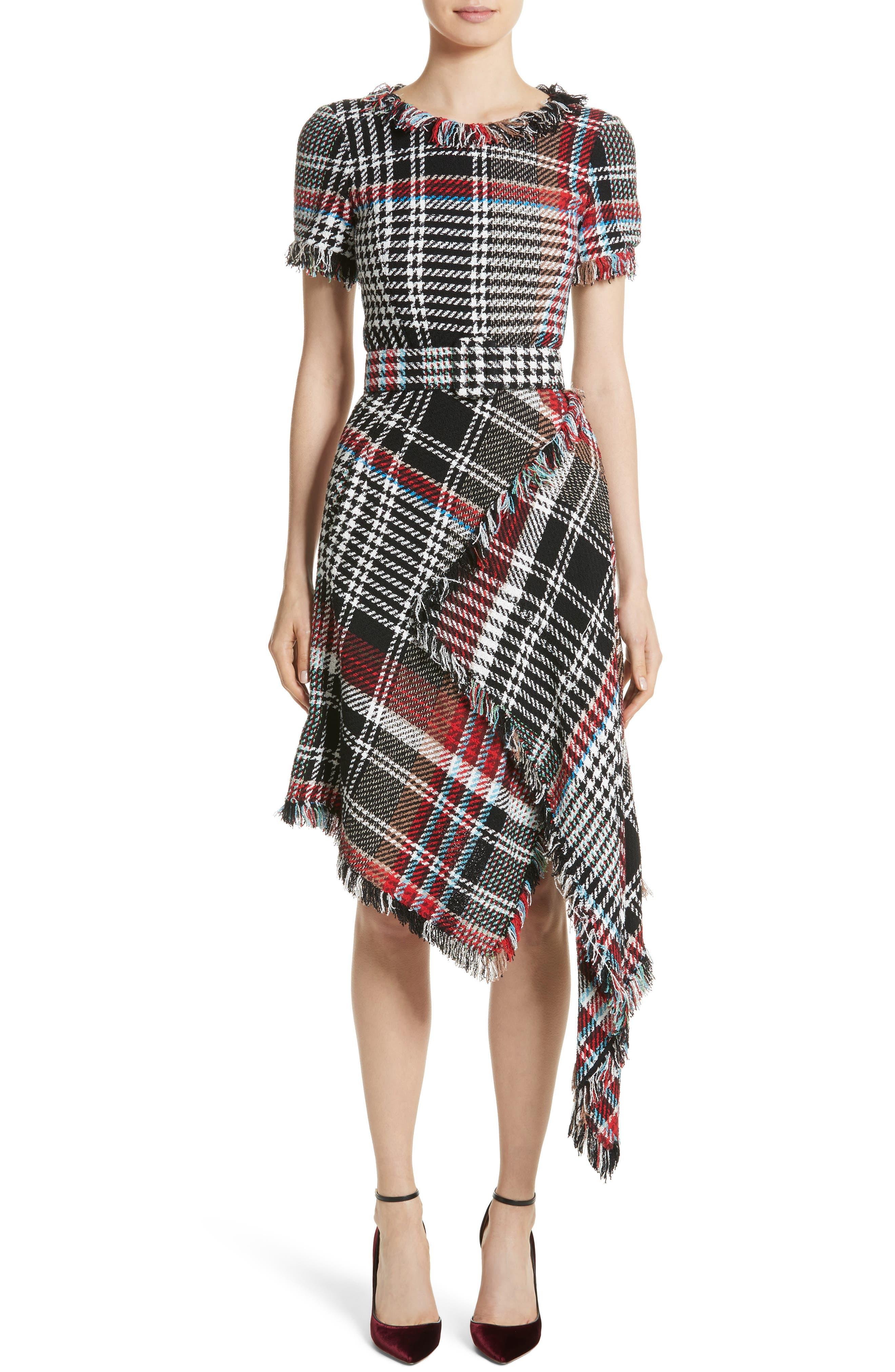Main Image - Oscar de la Renta Plaid Asymmetrical Dress