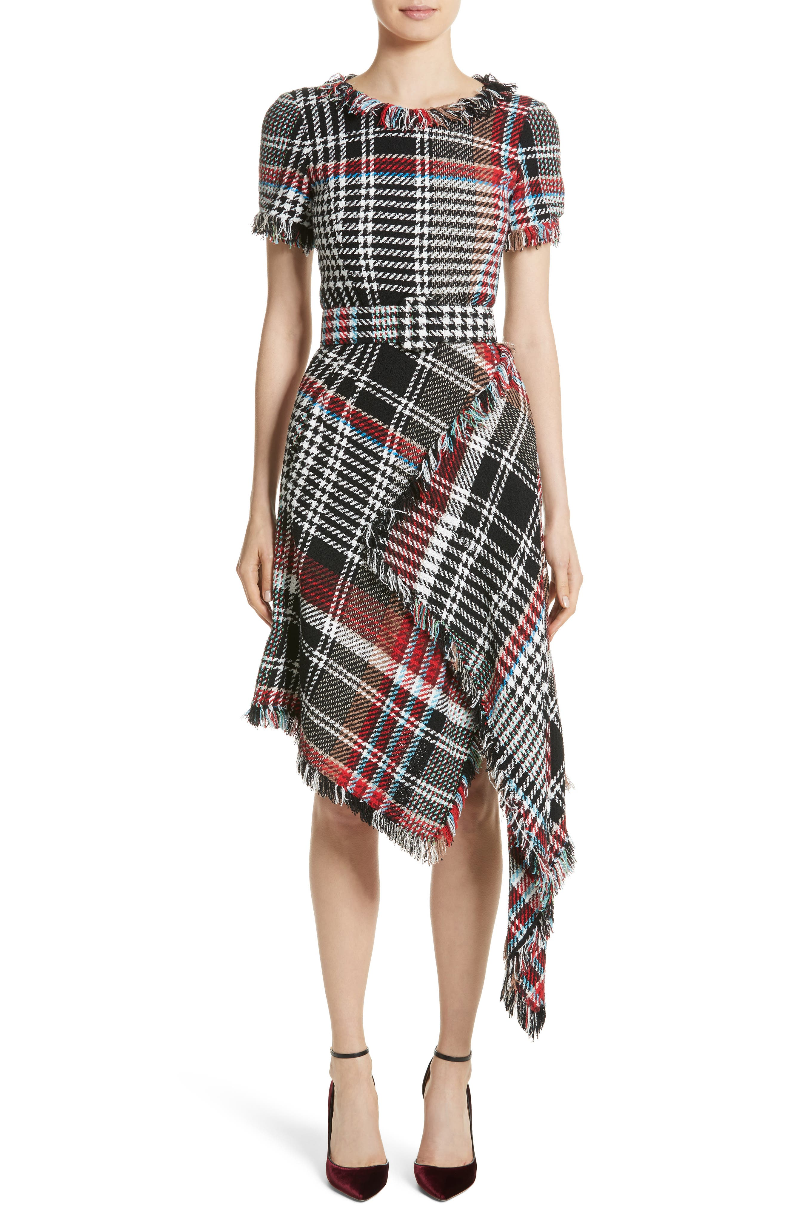 Plaid Asymmetrical Dress,                         Main,                         color, Black Mutli